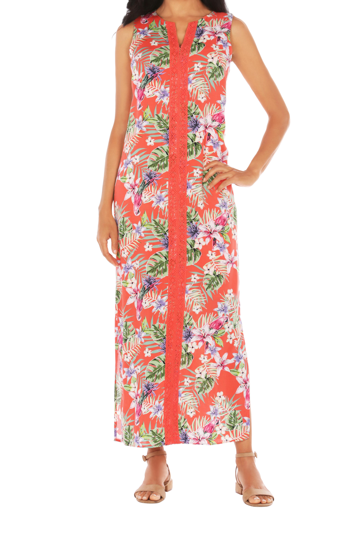 Caribbean Joe® Maxi Side Slit Dress -Red - Front