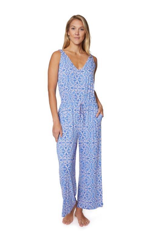 PRE ORDER Caribbean Joe® Tie Waist Jumpsuit -light blue - Front