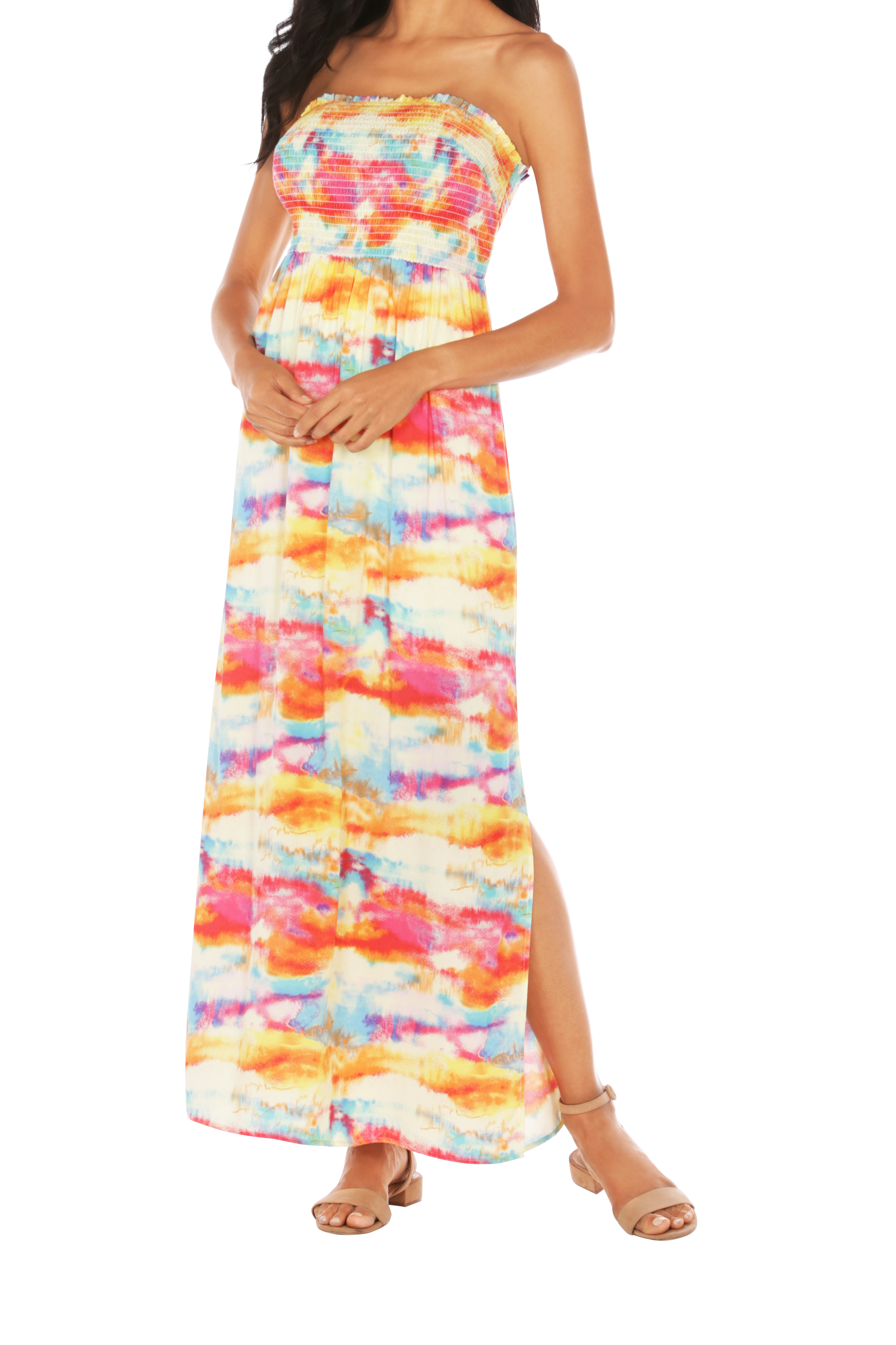 Caribbean Joe® Smocked Maxi Dress -Saffron - Front
