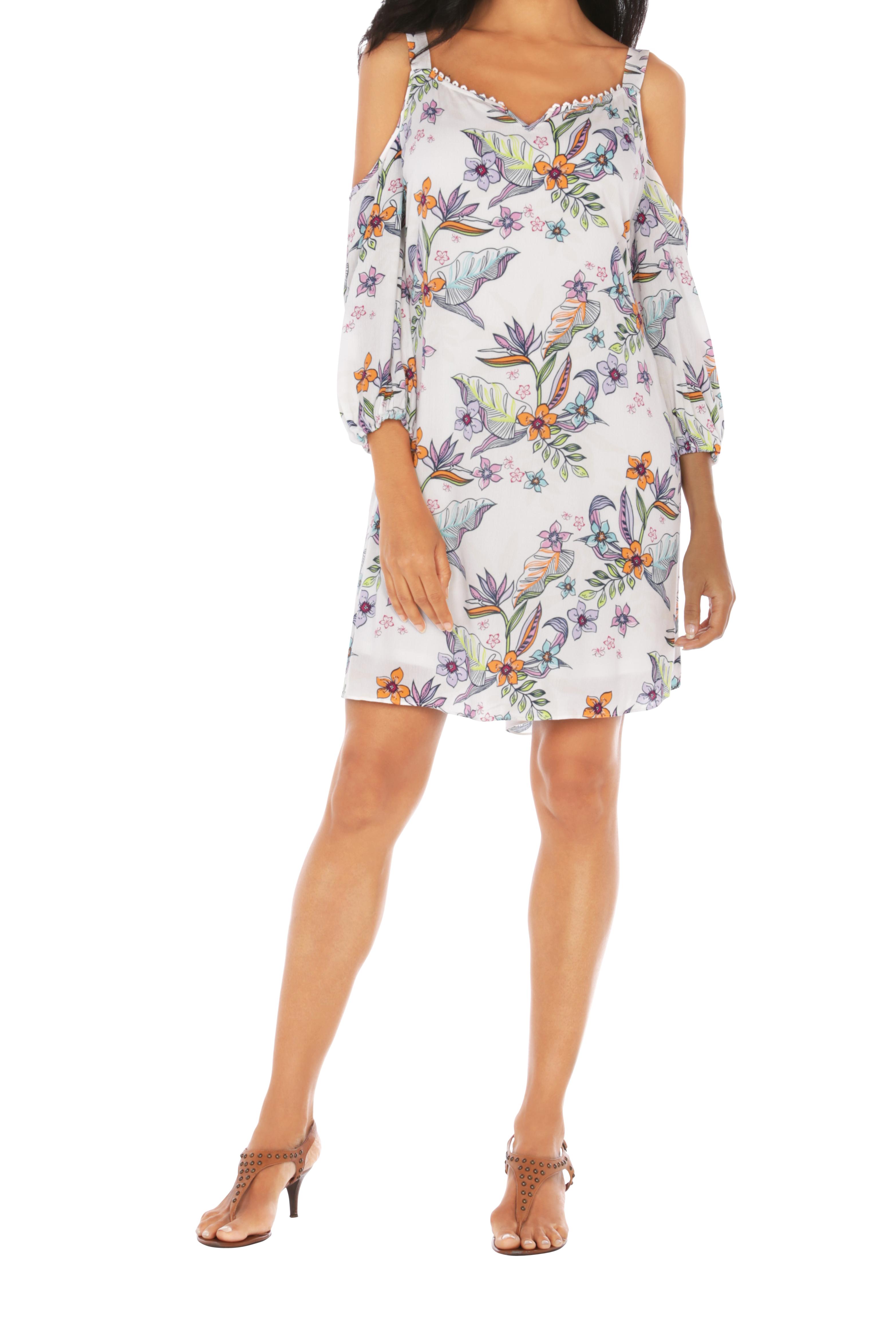 Caribbean Joe® Cold Shoulder Dress -White - Front