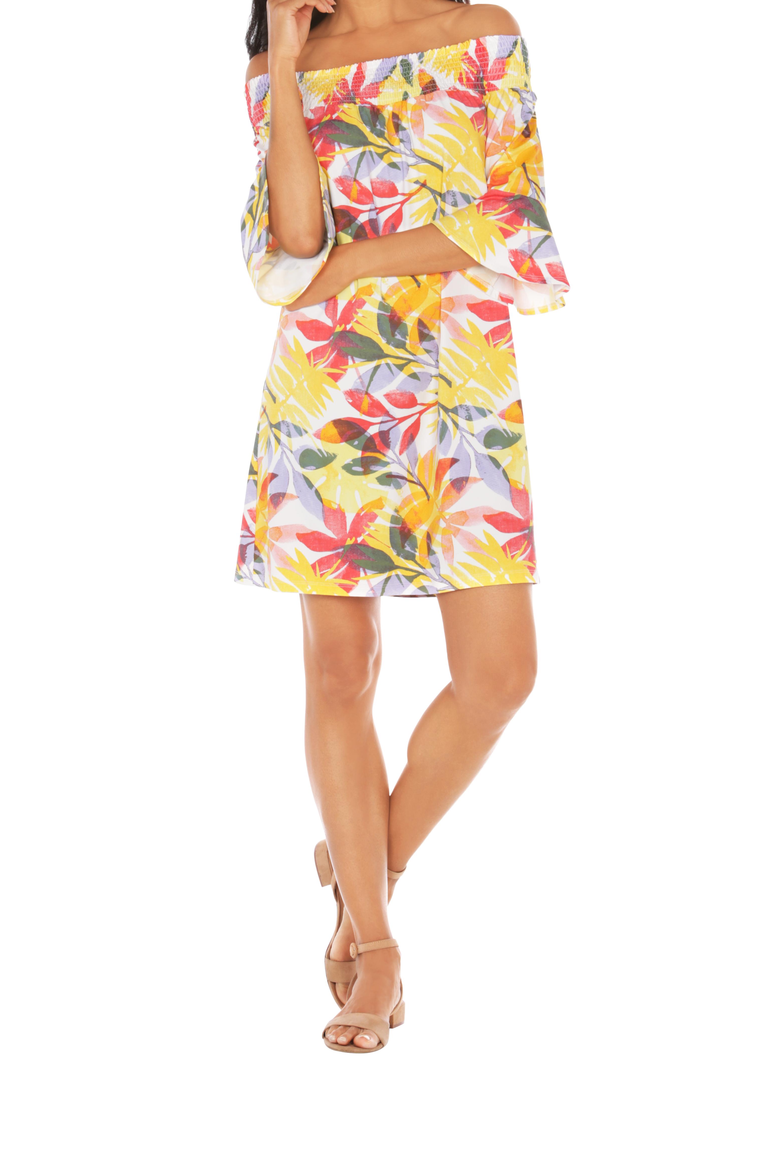 Caribbean Joe® UPF Sun Protection Off the Shoulder Dress -Sunrise - Front