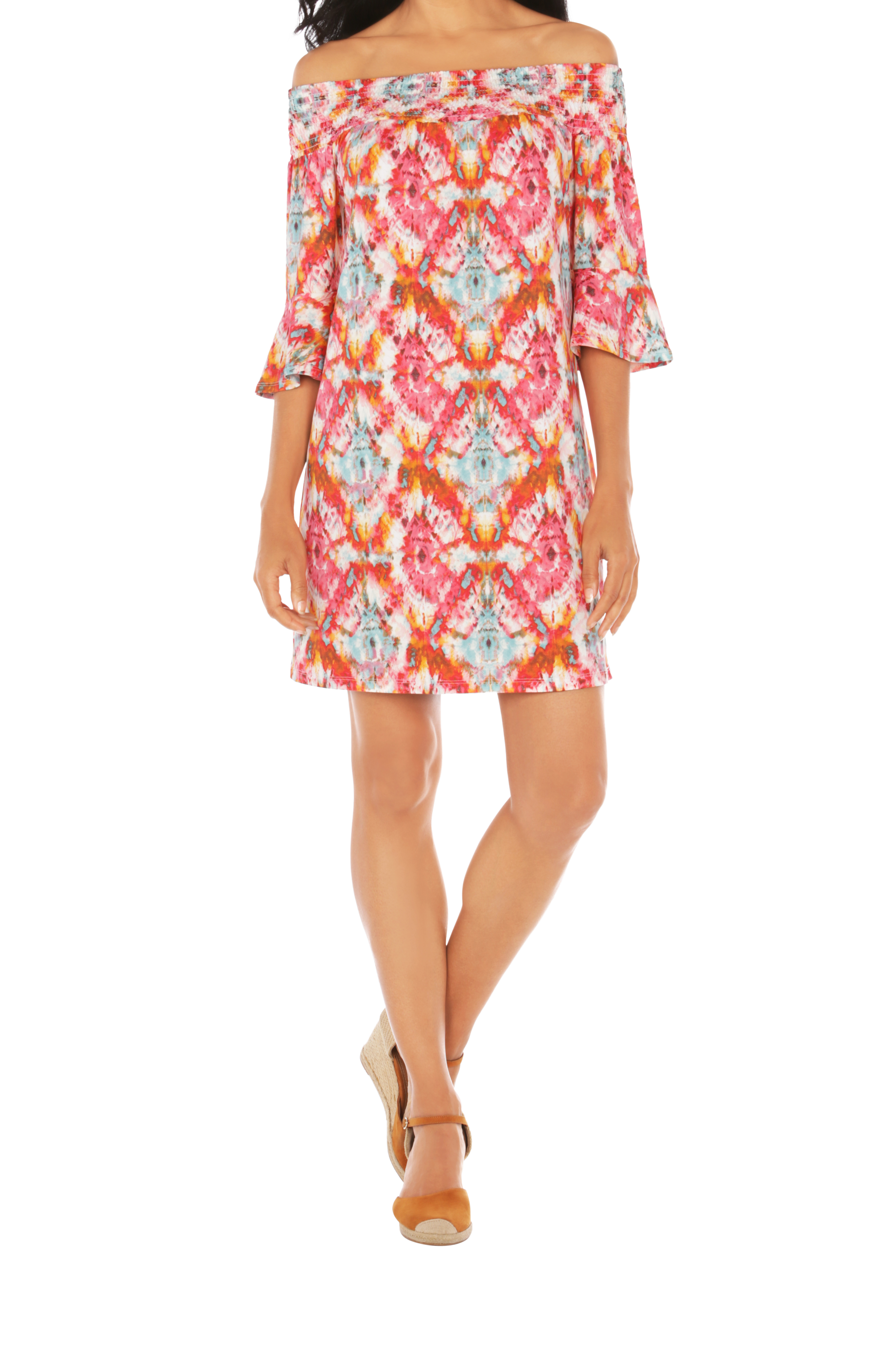 Caribbean Joe® UPF Sun Protection Off the Shoulder Dress -Very Berry - Front
