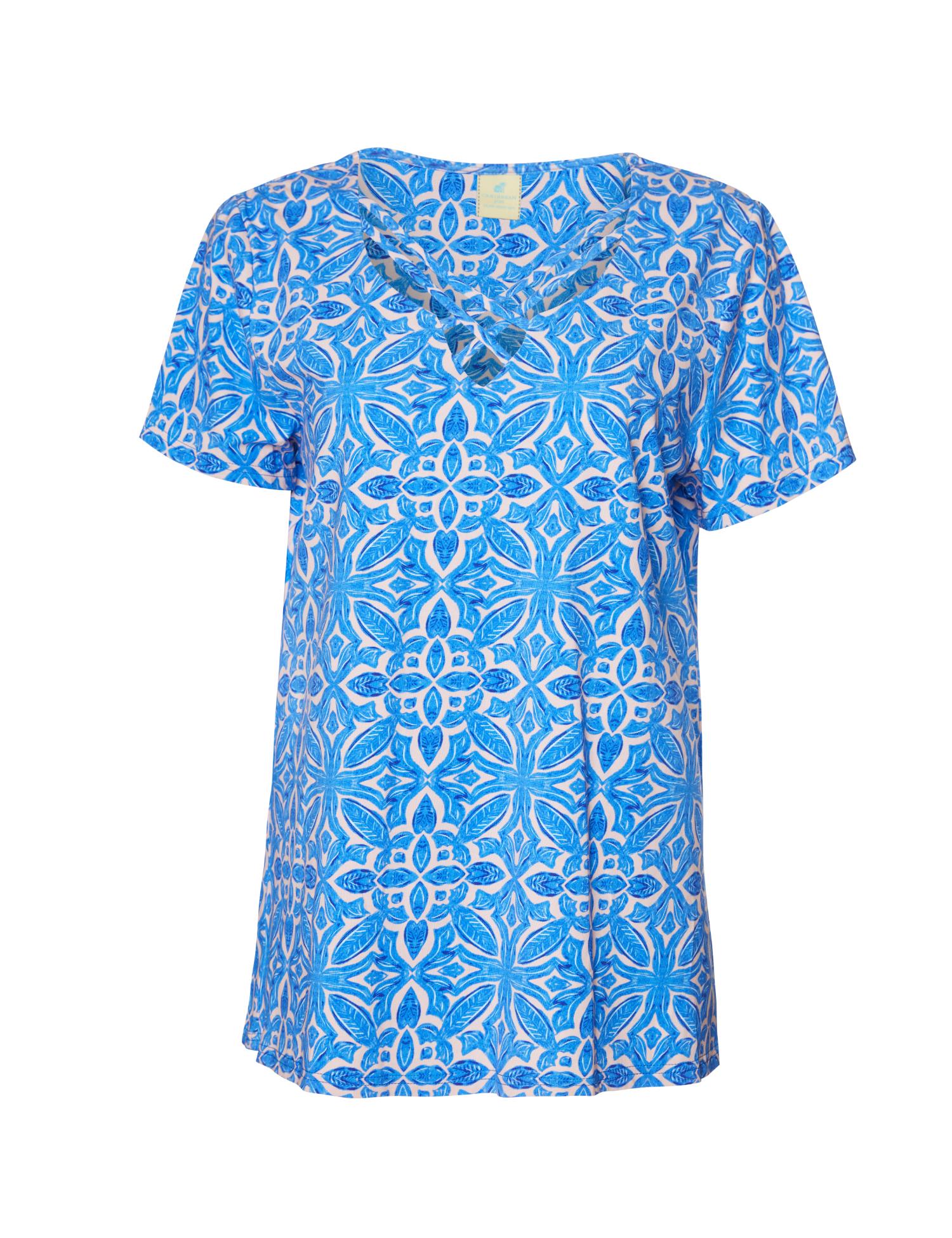Caribbean Joe® Criss Cross Knit Top -Blue - Front