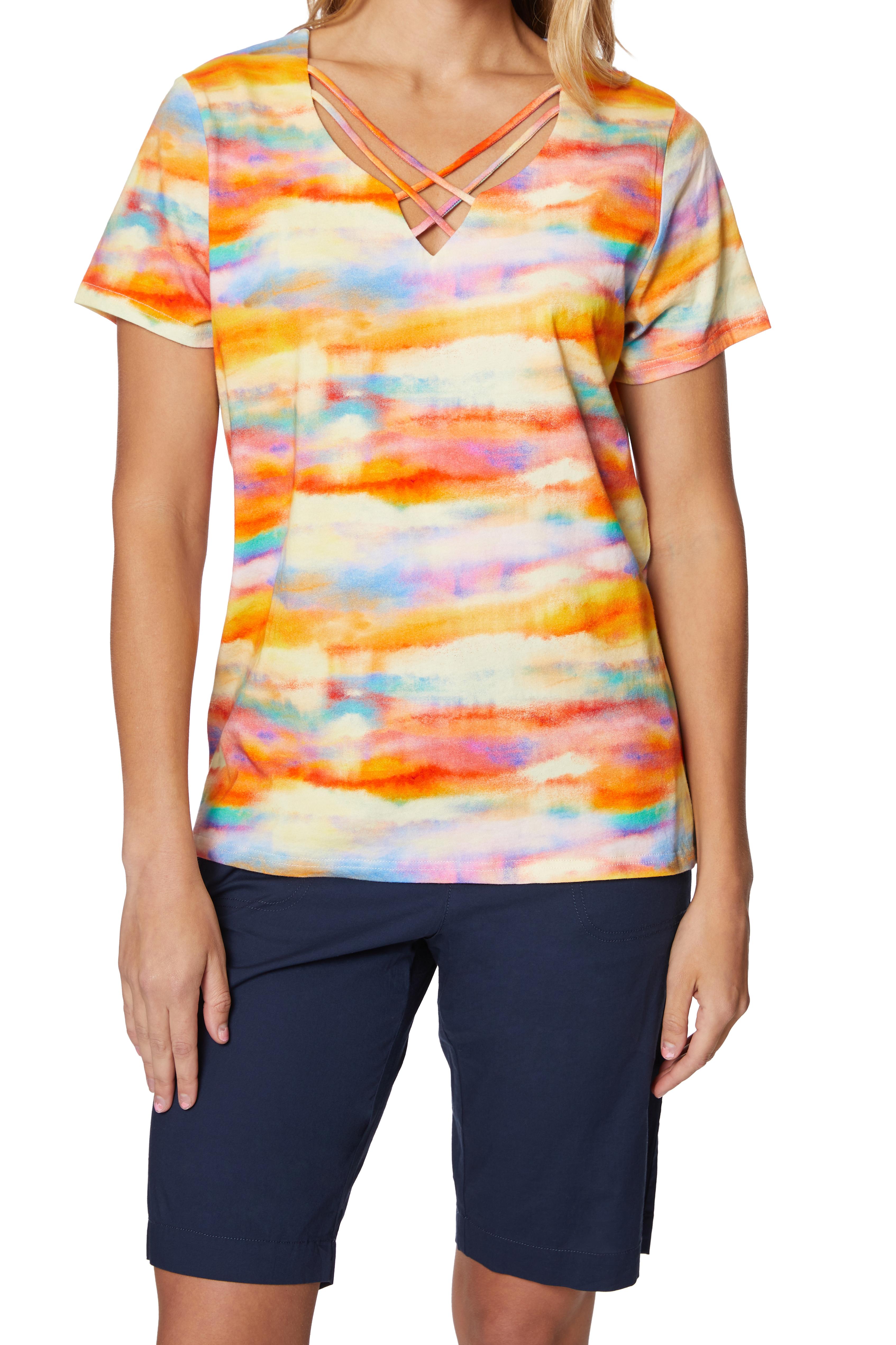 Caribbean Joe® Criss Cross Knit Top -Saffron - Front