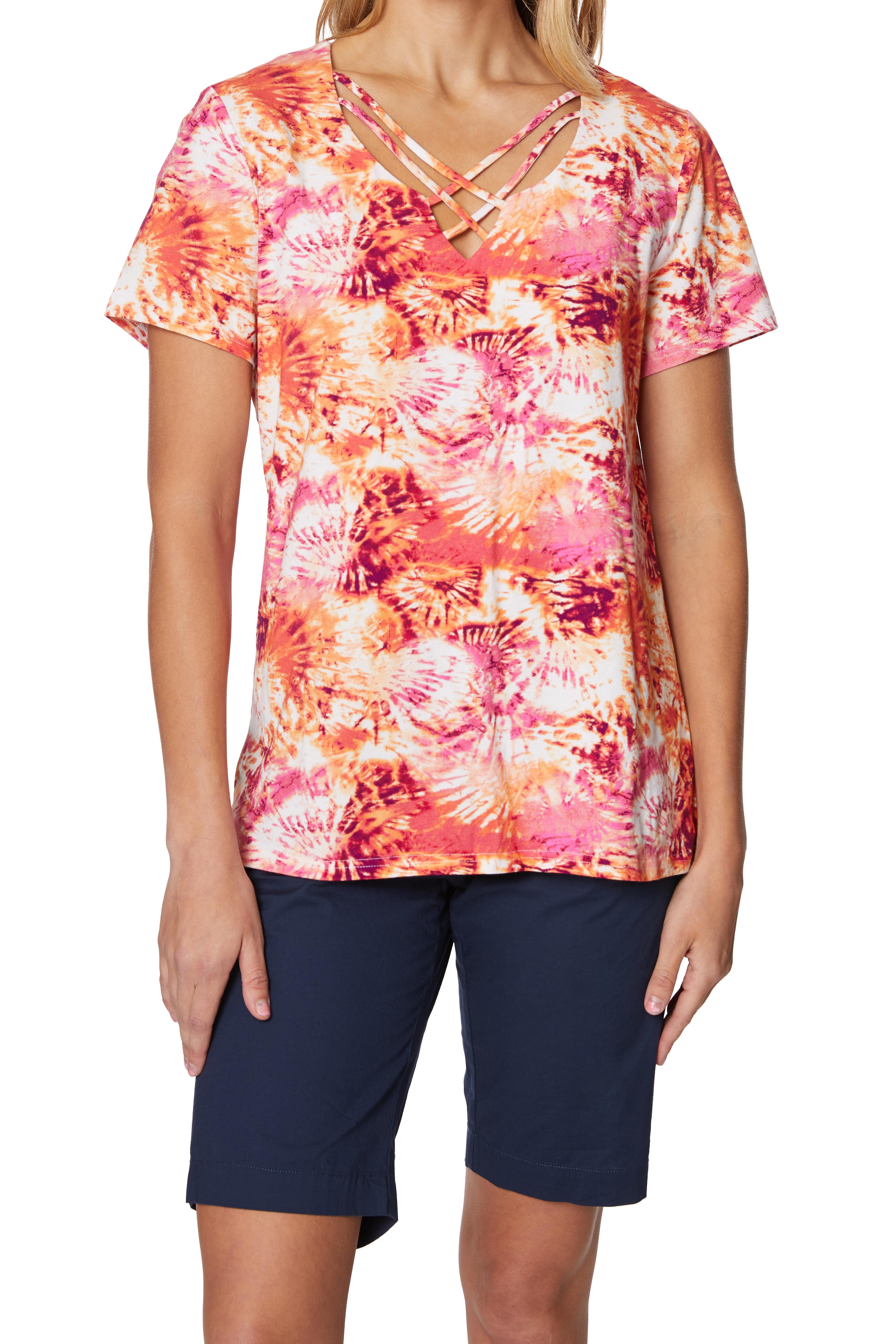 Caribbean Joe® Criss Cross Knit Top -Sundried - Front