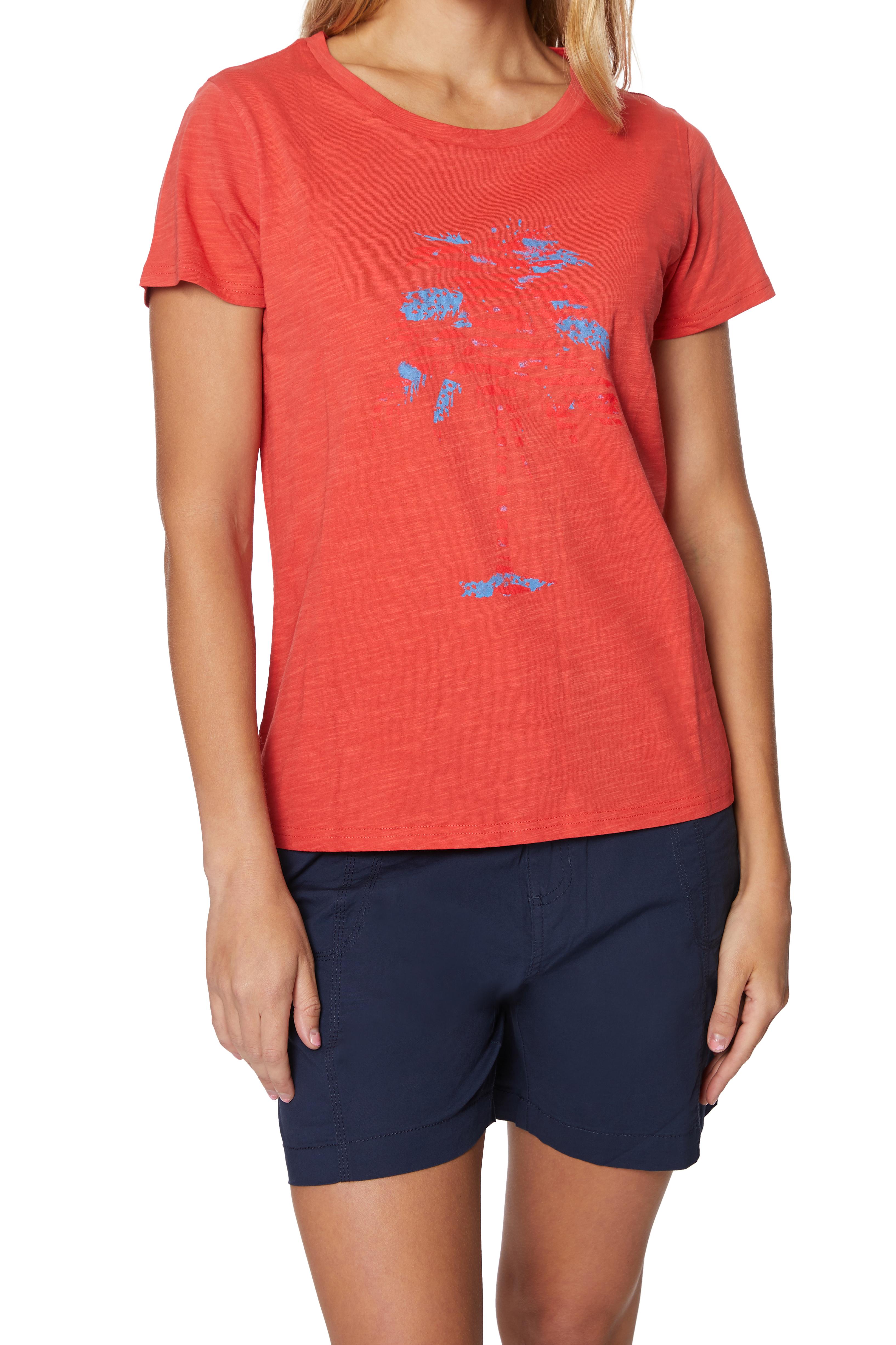 Caribbean Joe® Screen Print Knit T-Shirt -Poppy - Front