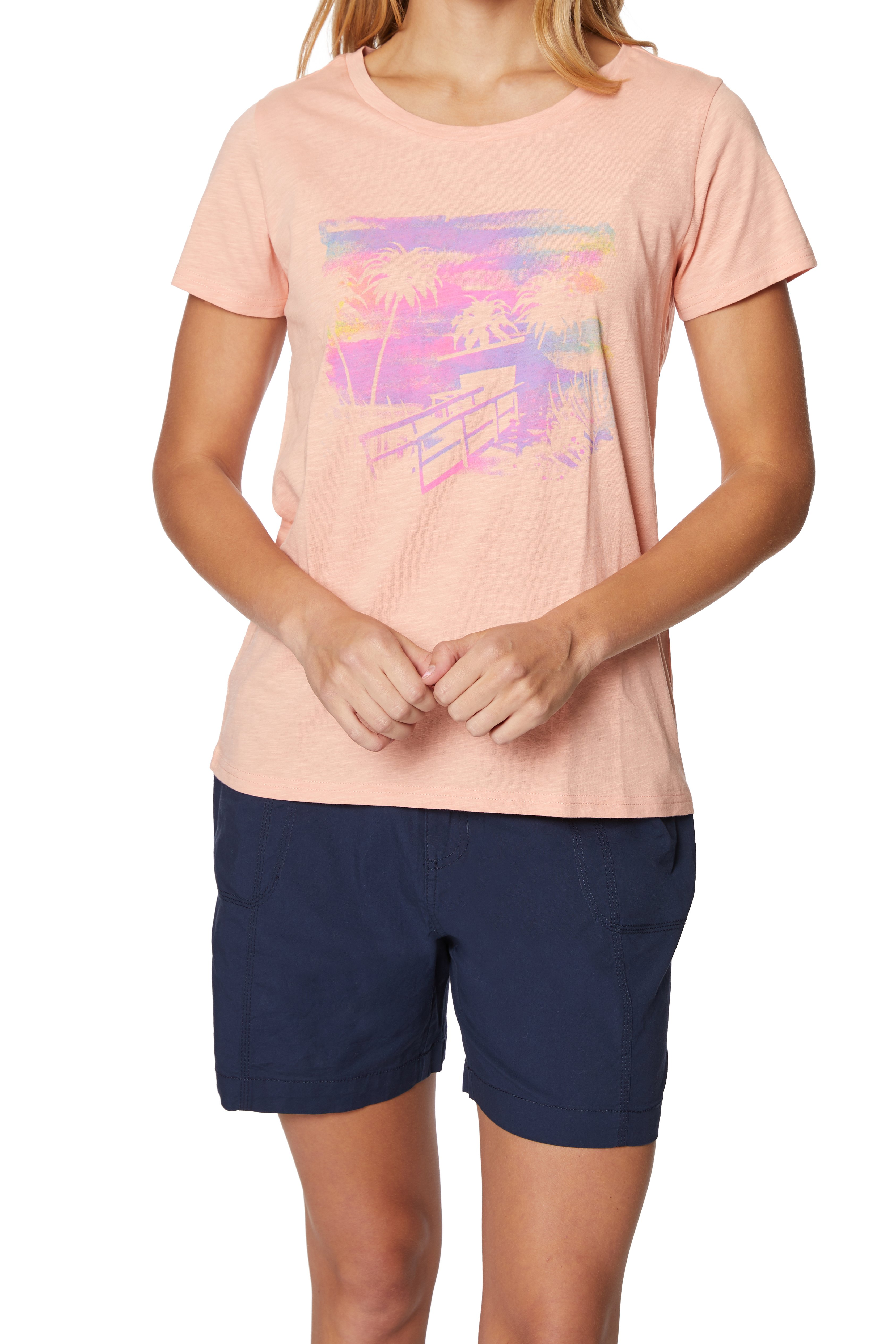 Caribbean Joe® Screen Print Knit T-Shirt -Soft Blush - Front