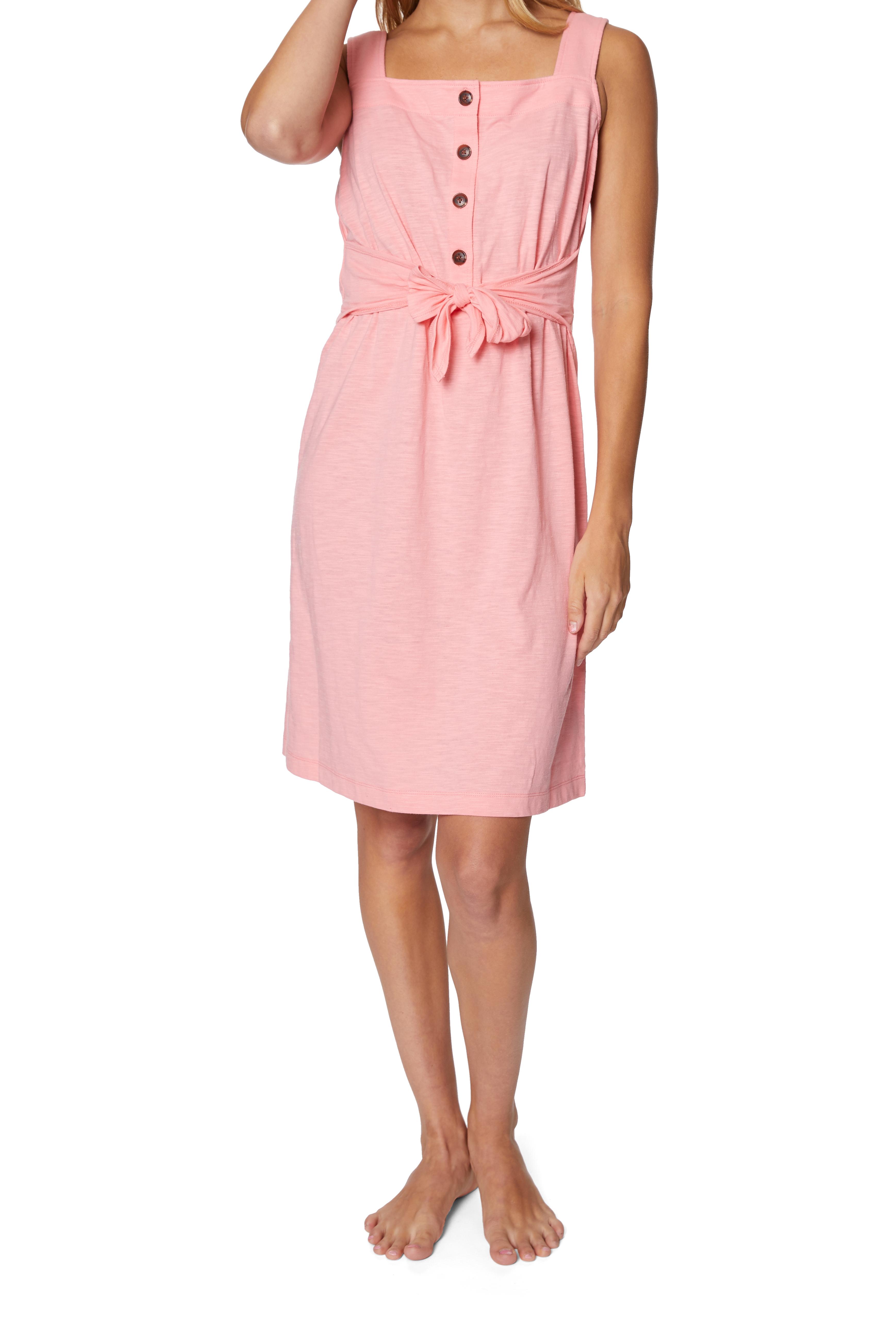 Caribbean Joe® Front Knot Button-Up Dress -Pink - Front