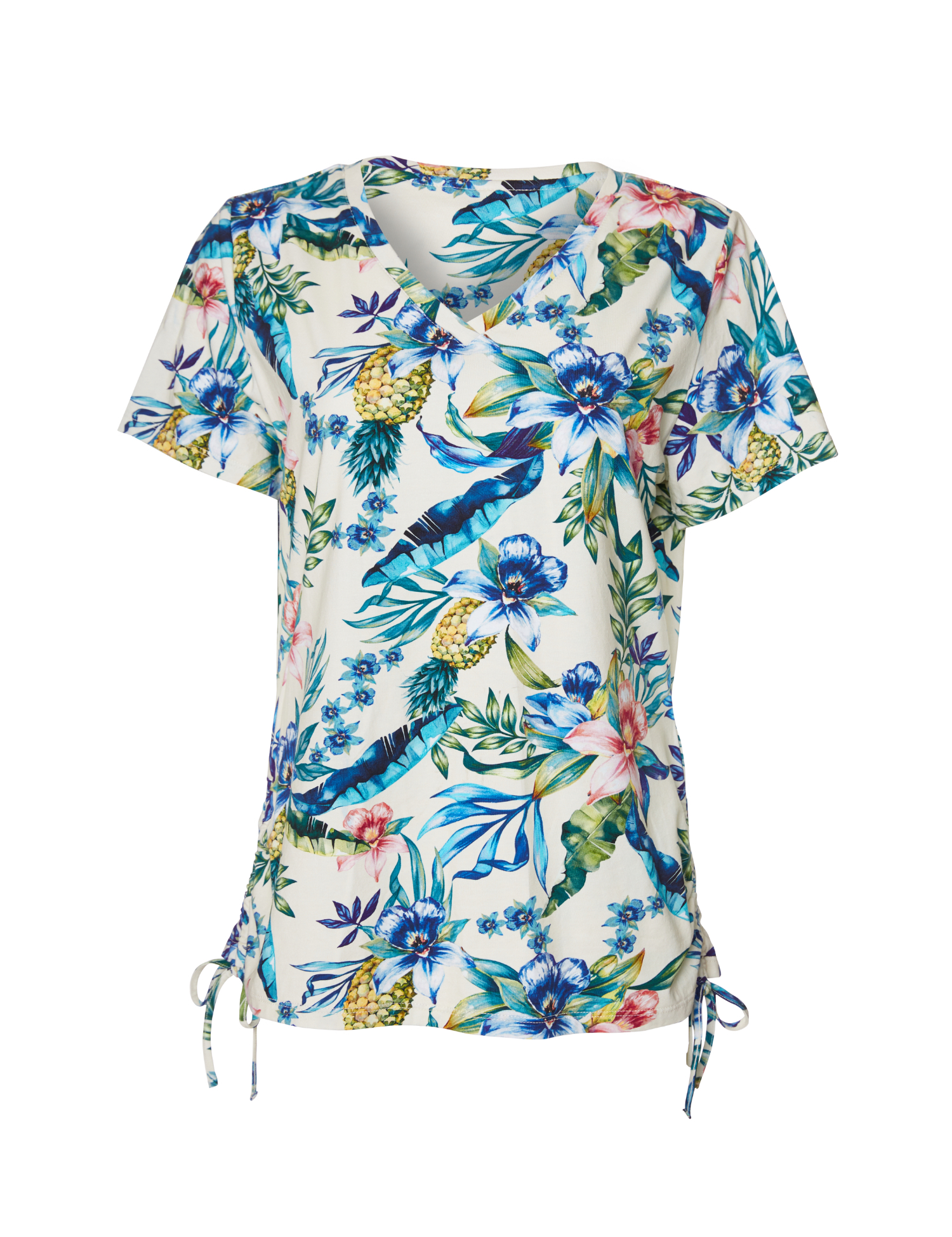 Caribbean Joe® Side Ruched Knit Top -White/Floral - Front