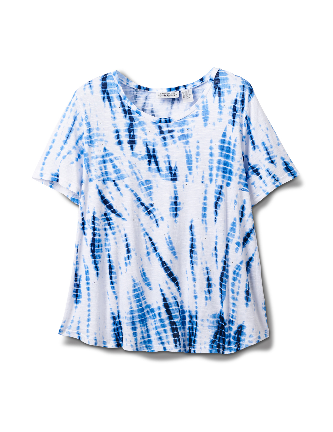 Embellished Tie Dye Knit Top -Blue/White - Front