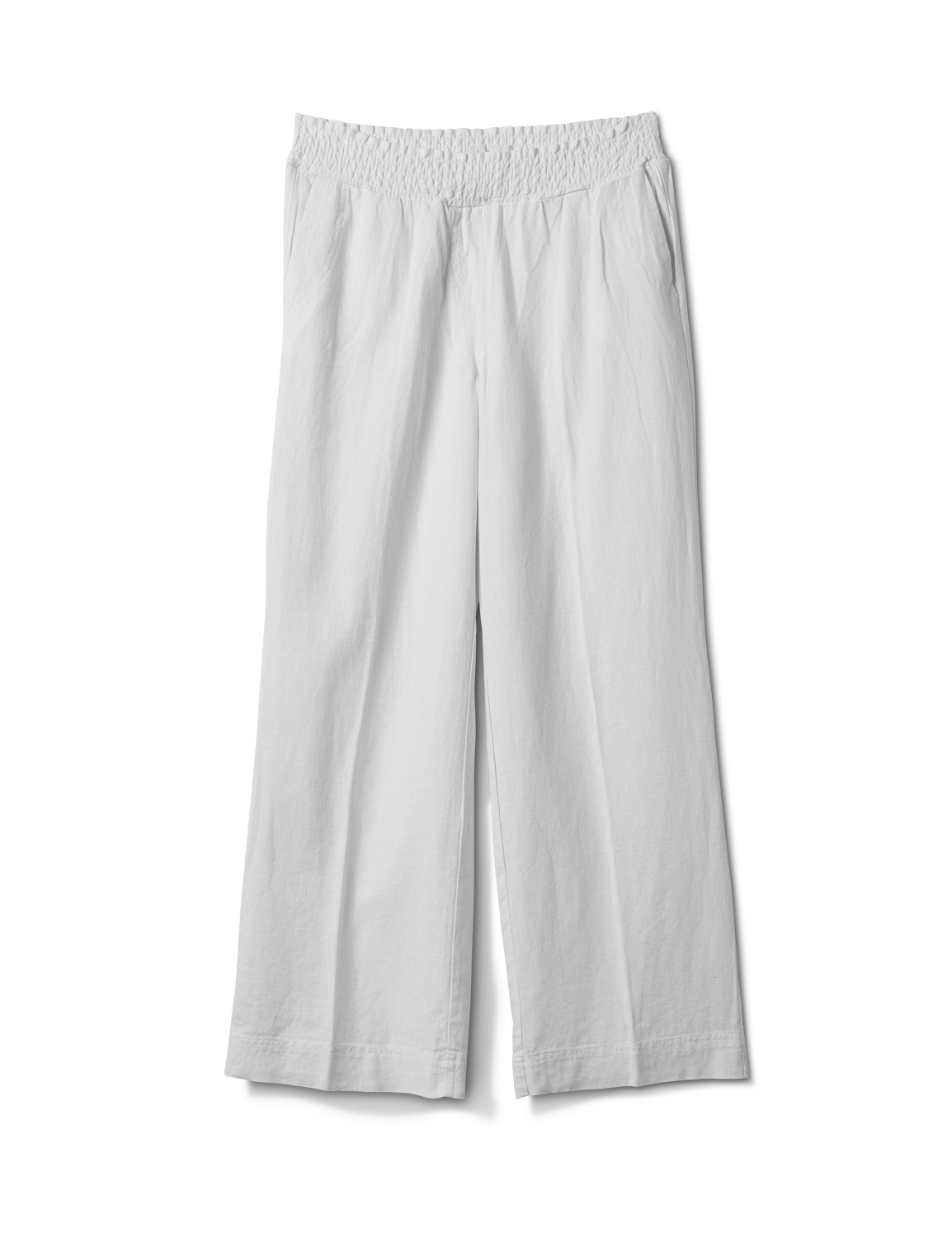 Smocked Waist Pull On Pant With Pockets -White - Front