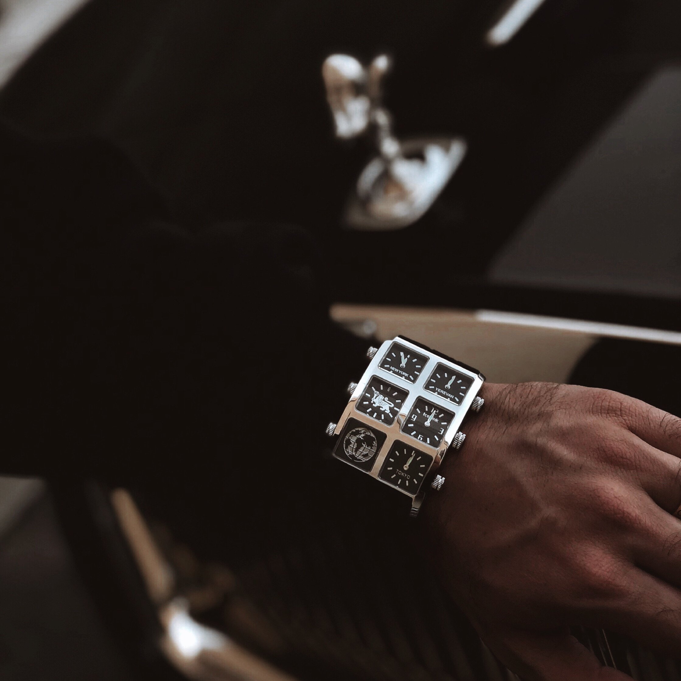 Close up of man wearing Davin 60mm Multi-Time Zone Watch - IceLink