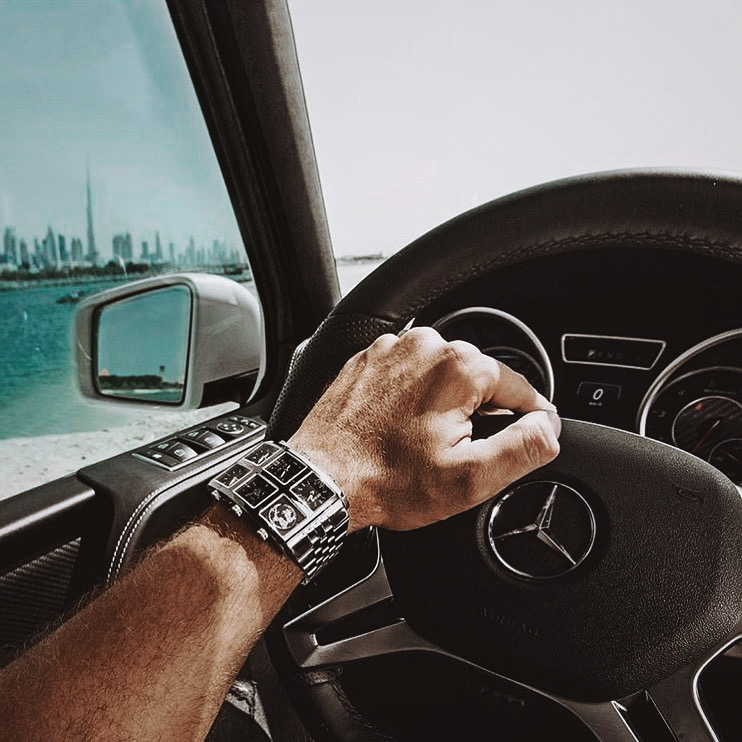 Driving while wearing Davin 60mm Multi-Time Zone Watch - IceLink