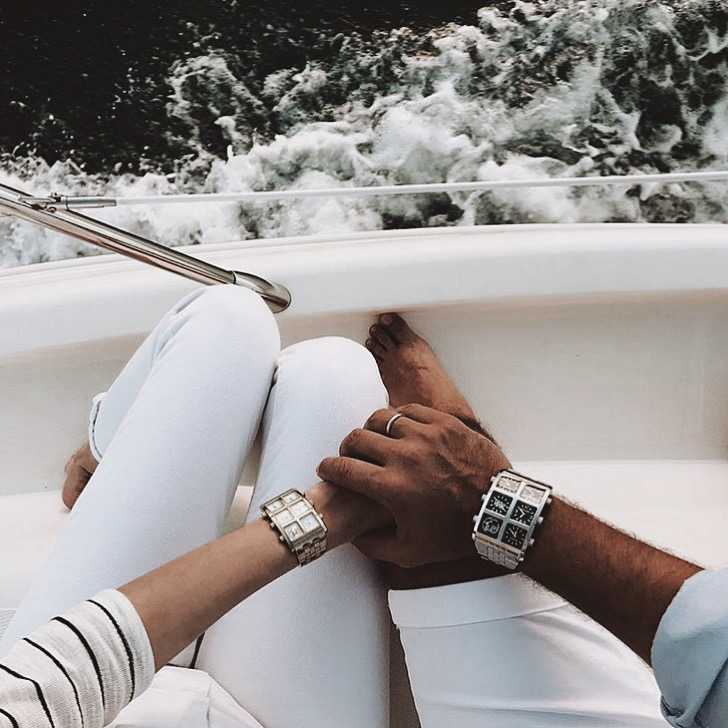 Man holding woman's hand while wearing Davin 60mm Multi-Time Zone Watch - IceLink