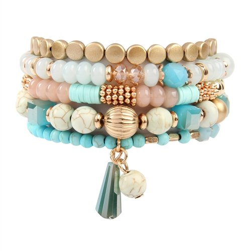 Turquoise Multi-Beaded Stretch Bracelet -Turquoise - Front