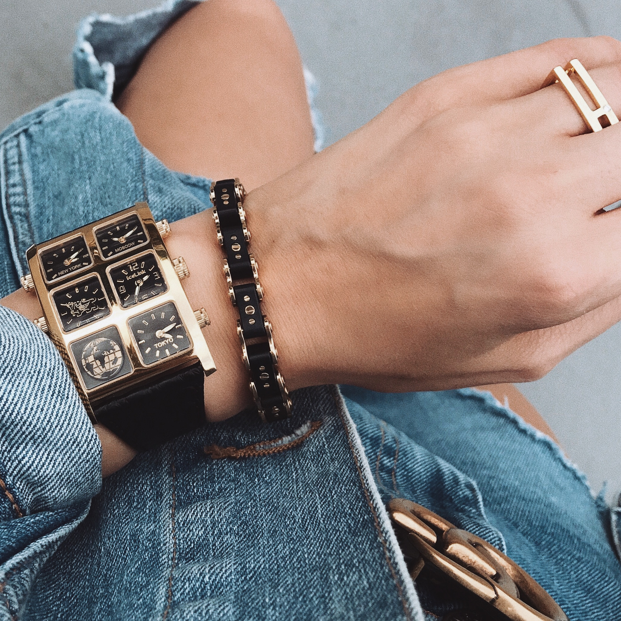 Close up of Lee Metal 40mm Multi-Time Zone Watch on woman's wrist