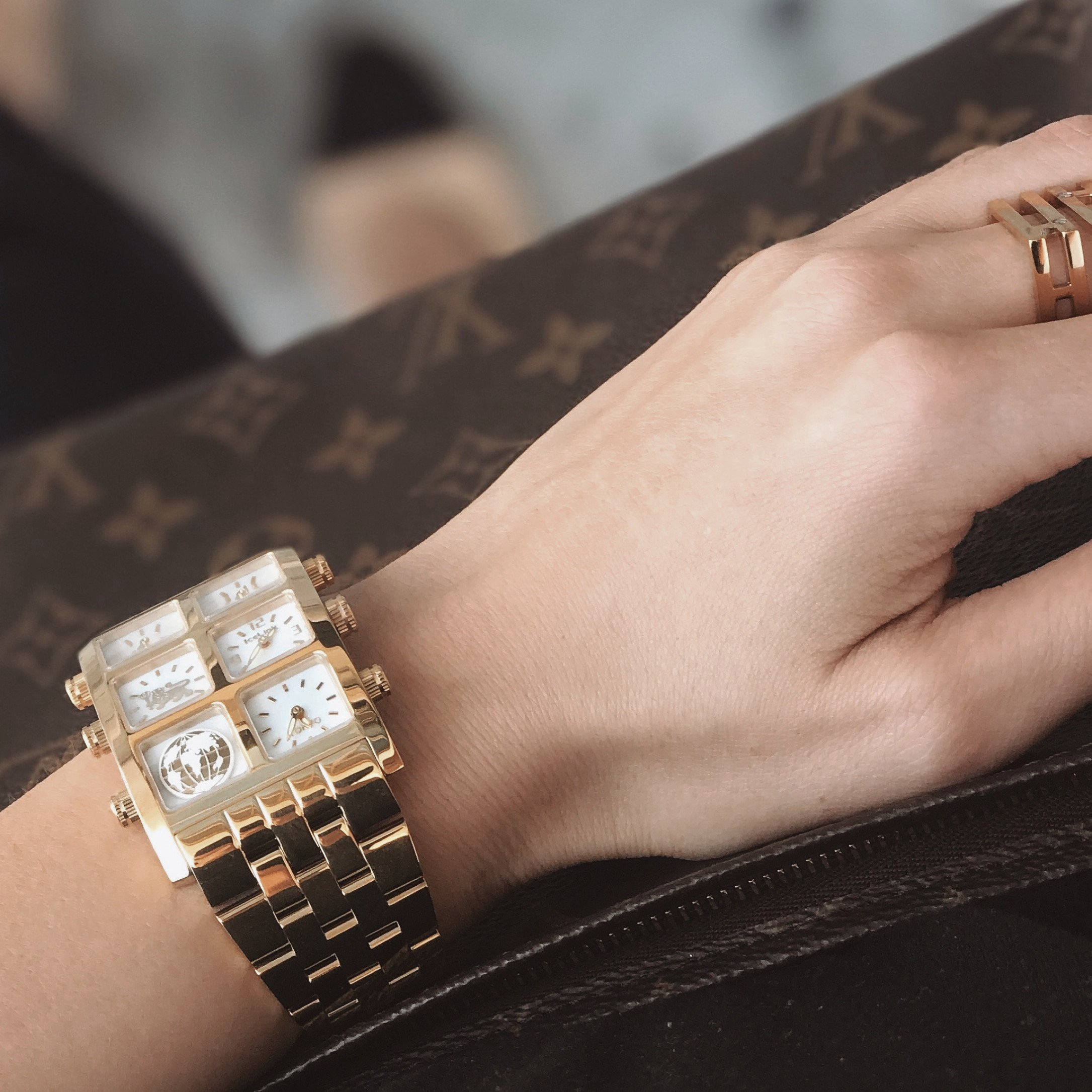 Close up of woman's wrist with Mai 40mm Multi-Time Zone Watch - IceLink