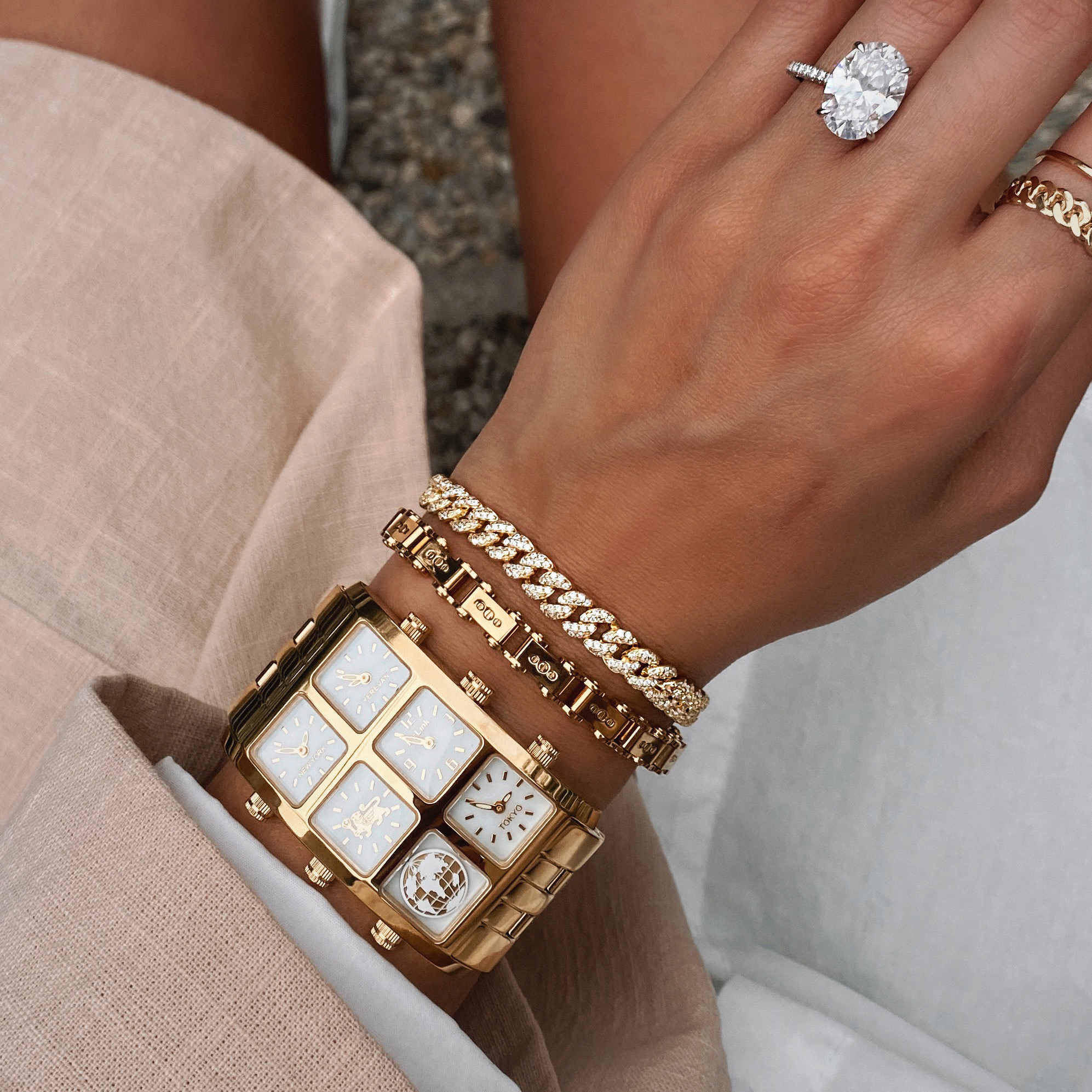 Close up of Mai 40mm Multi-Time Zone Watch on woman's wrist