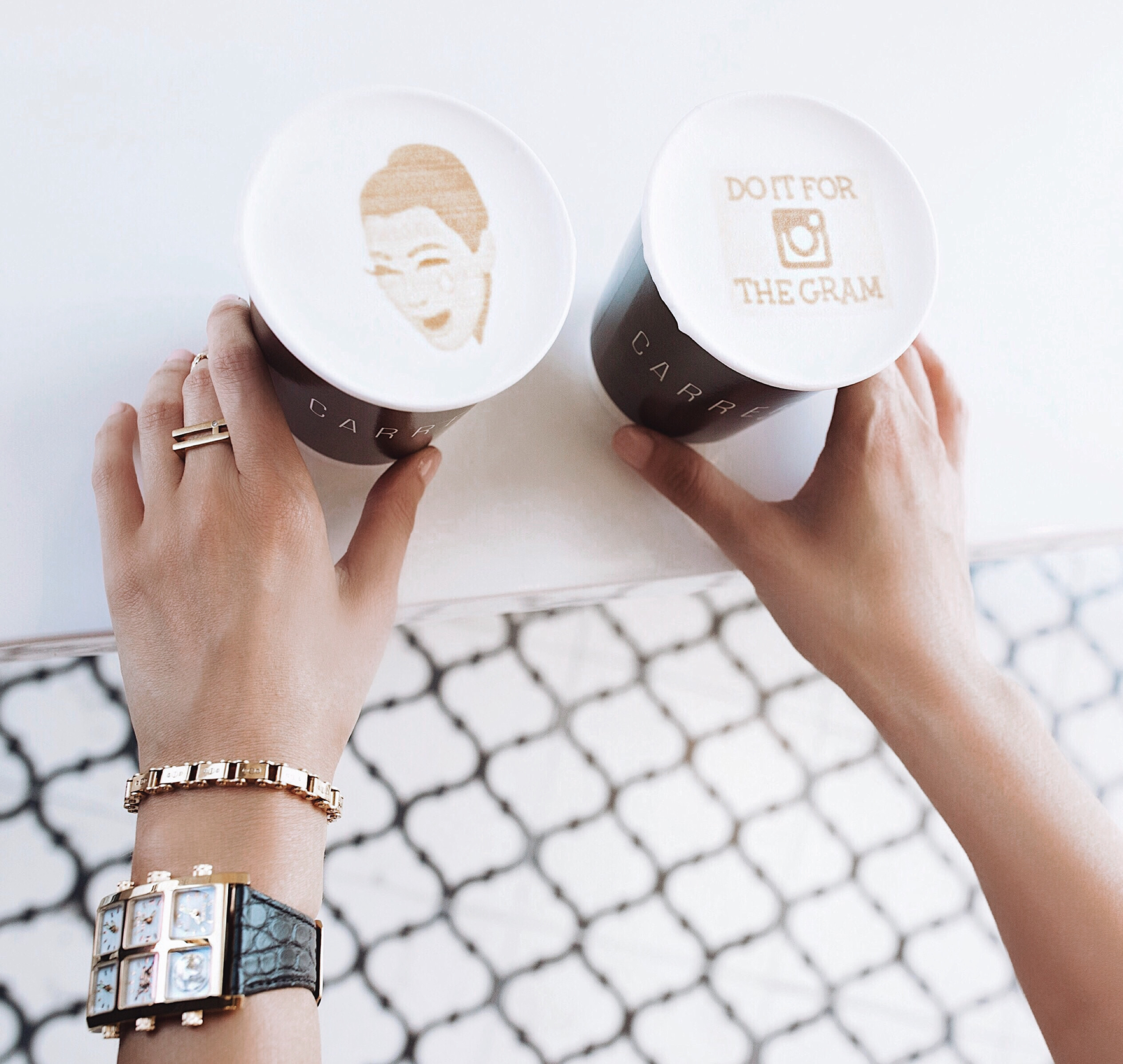 Woman holding two lattes wearing Mai 40mm Multi-Time Zone Watch - IceLink