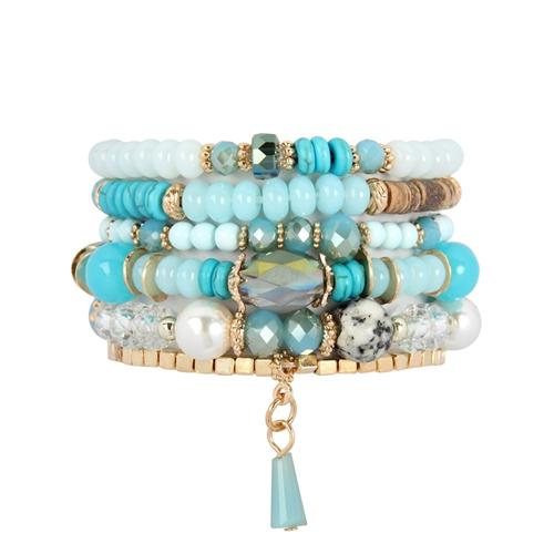 Turquoise Multi-stone Beads Bracelet - - Front