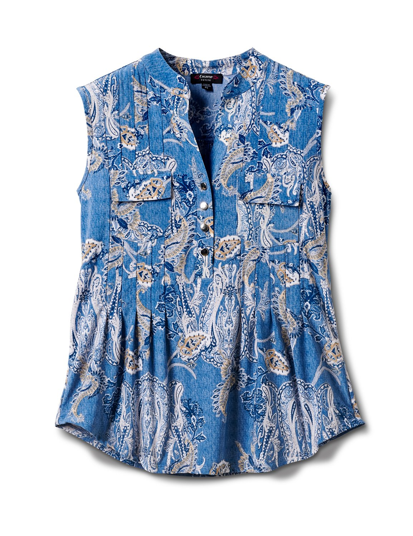 Paisley Sleeveless Knit Popover-Petite -Lt Blue-denim - Front
