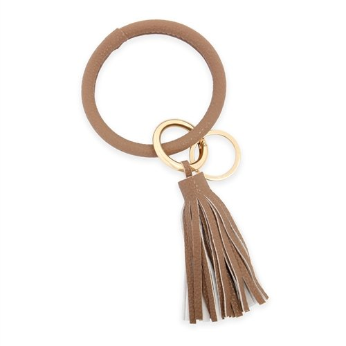 All Leather Tassel Key Ring -Light Brown - Front