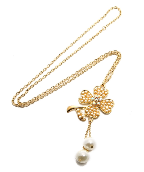 Flower Power Gold Chain Necklace -Gold - Front
