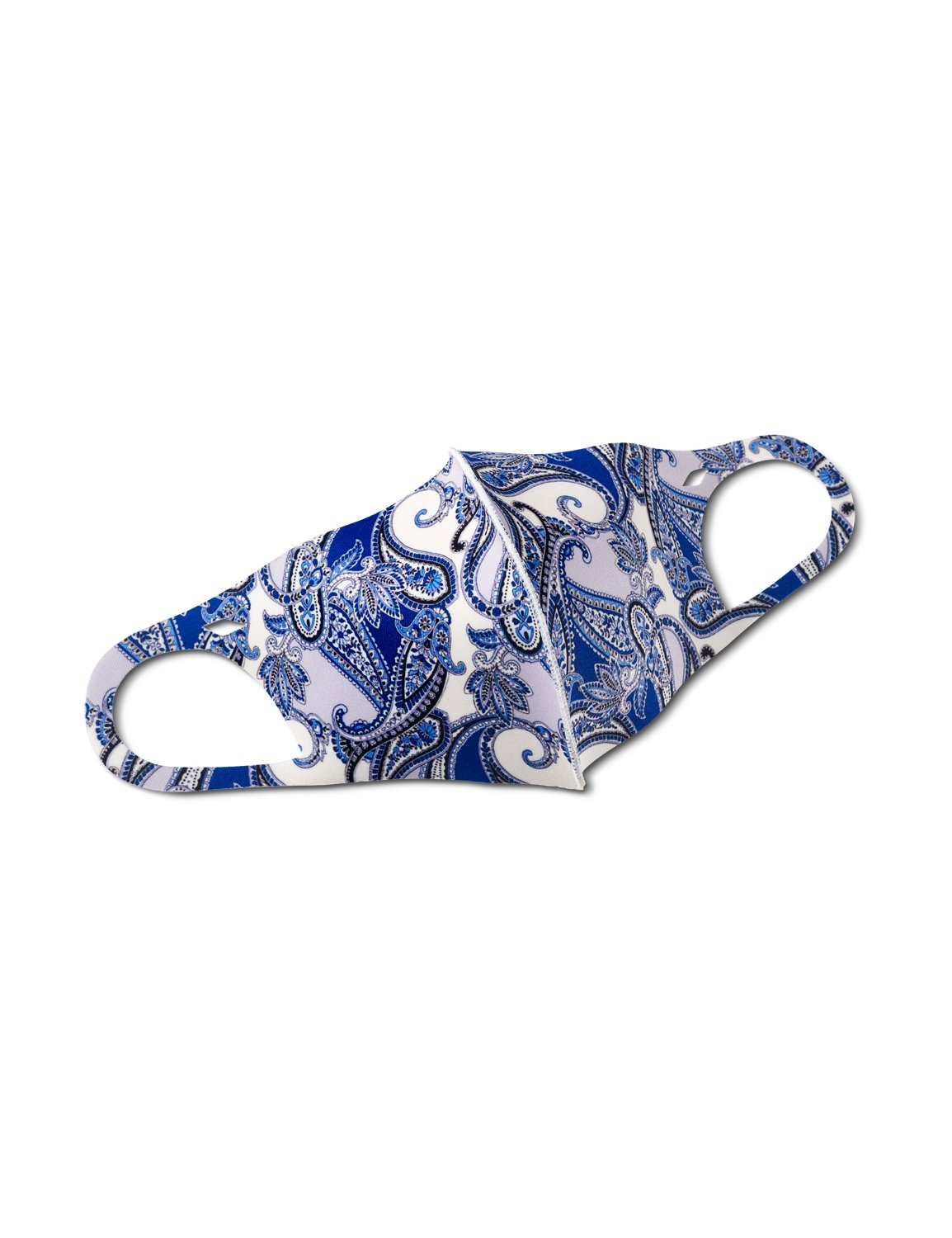 Pre-Order Denim Paisley Anti-Bacterial Fashion Face Mask -Blue - Front