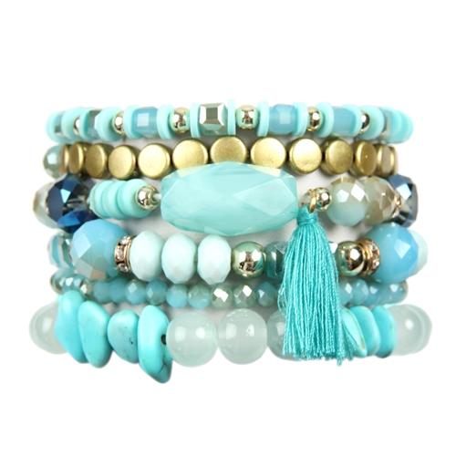 Turquoise Boho Charm Tassel Bracelet -Turquoise - Front