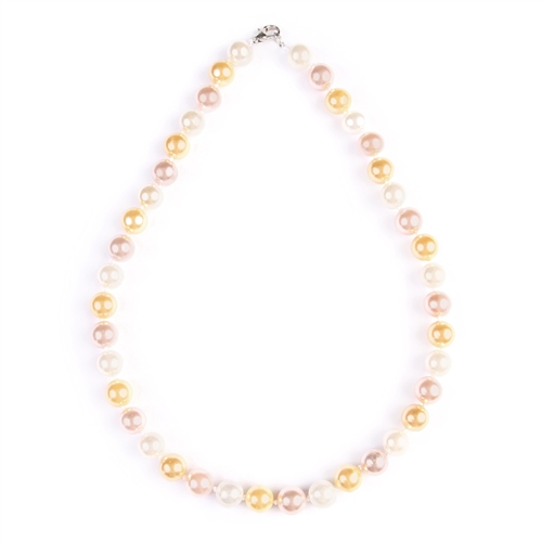 Classic Multi-Color Pearl Necklace -Amber - Front