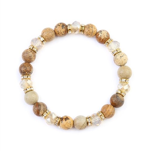 Brown Rondelle Glass Beads Stretch Bracelet -Brown - Front