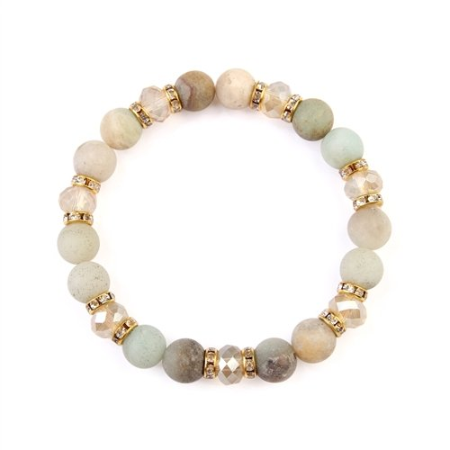 Warm Colored Rondelle Glass Beads Stretch Bracelet -Gold / White - Front
