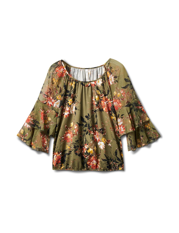 Novelty Sleeve Floral Print Knit Top -Olive/Burnt Orange/Gold - Front