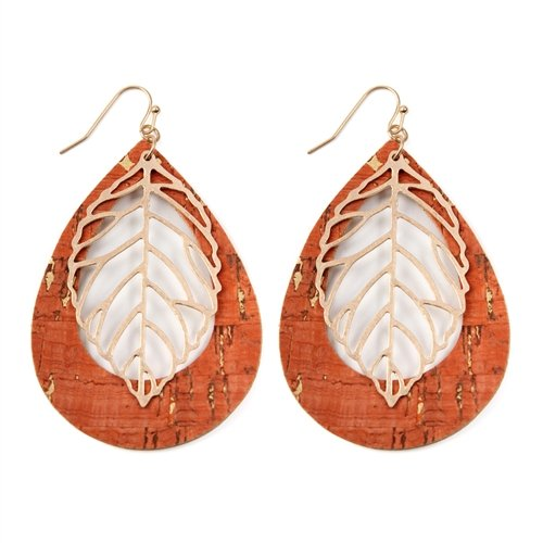 Vintage Teardrop Orange Leaf Earrings -Orange - Front