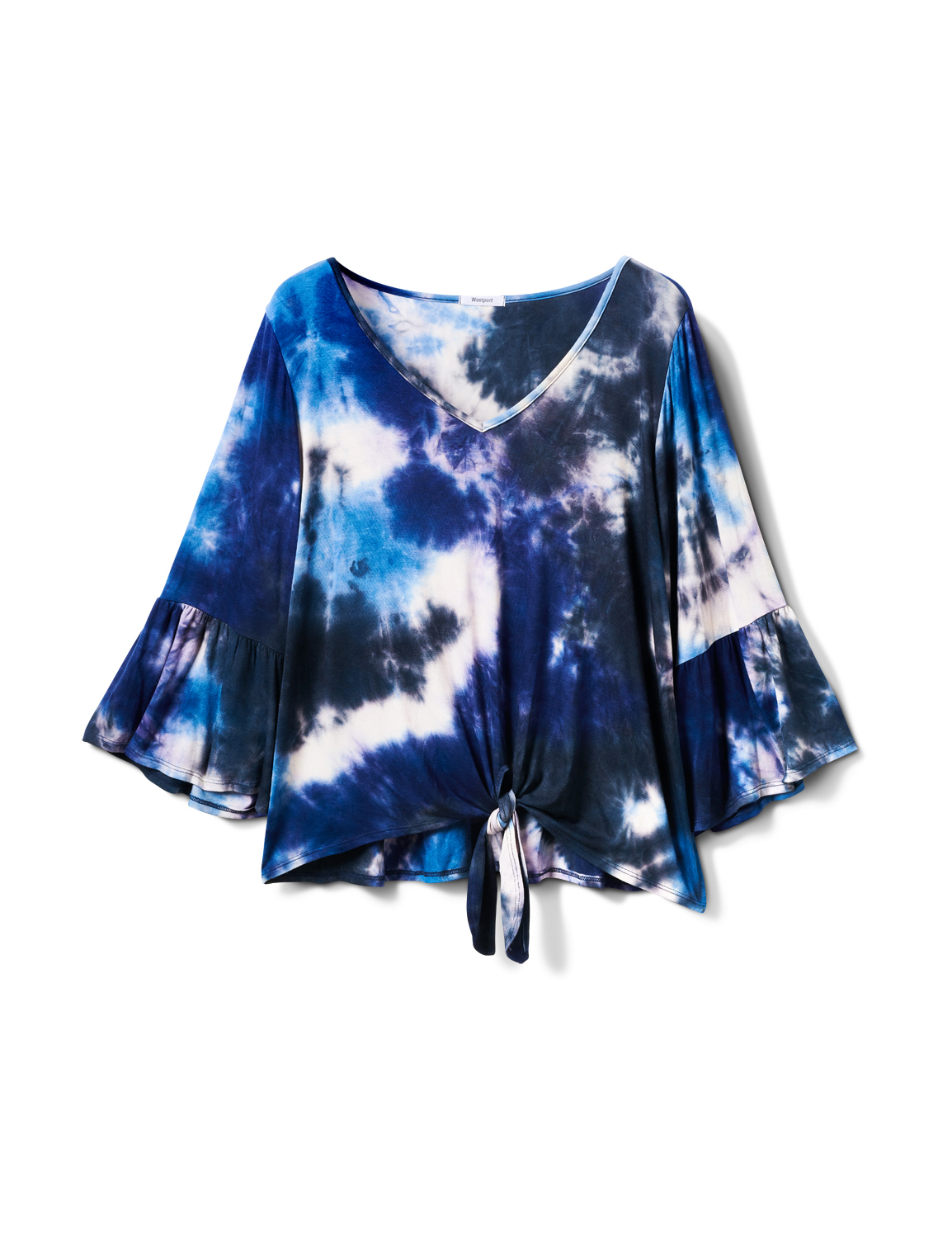 V-neck Tie Dye Tie Front Knit Top - Plus -Navy - Front