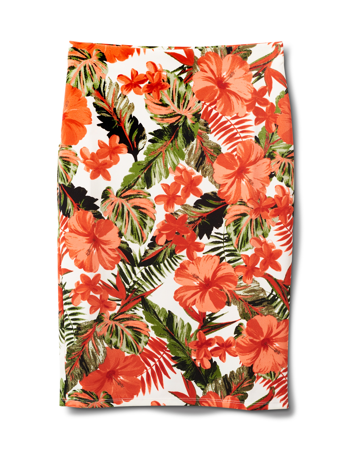 Printed Pull On  Floral Scuba Crepe Skirt -Sugar Swizzle/Spice isle - Front