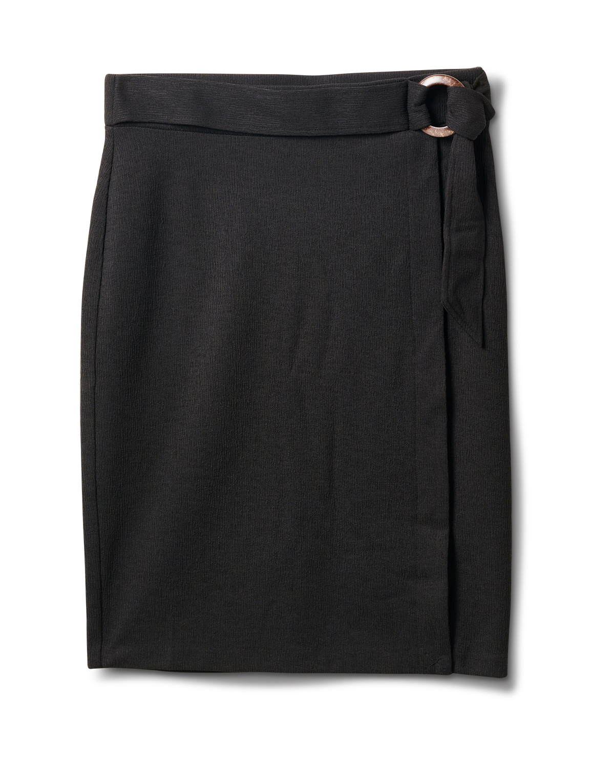 Faux Wrap Skirt with Buckle Trim -Black - Front