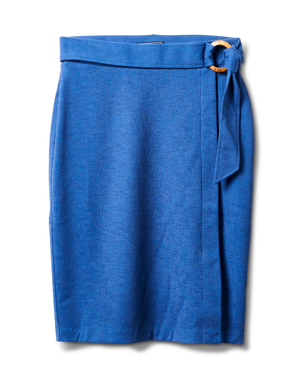 Faux Wrap Skirt with Buckle Trim -Indigo coast - Front