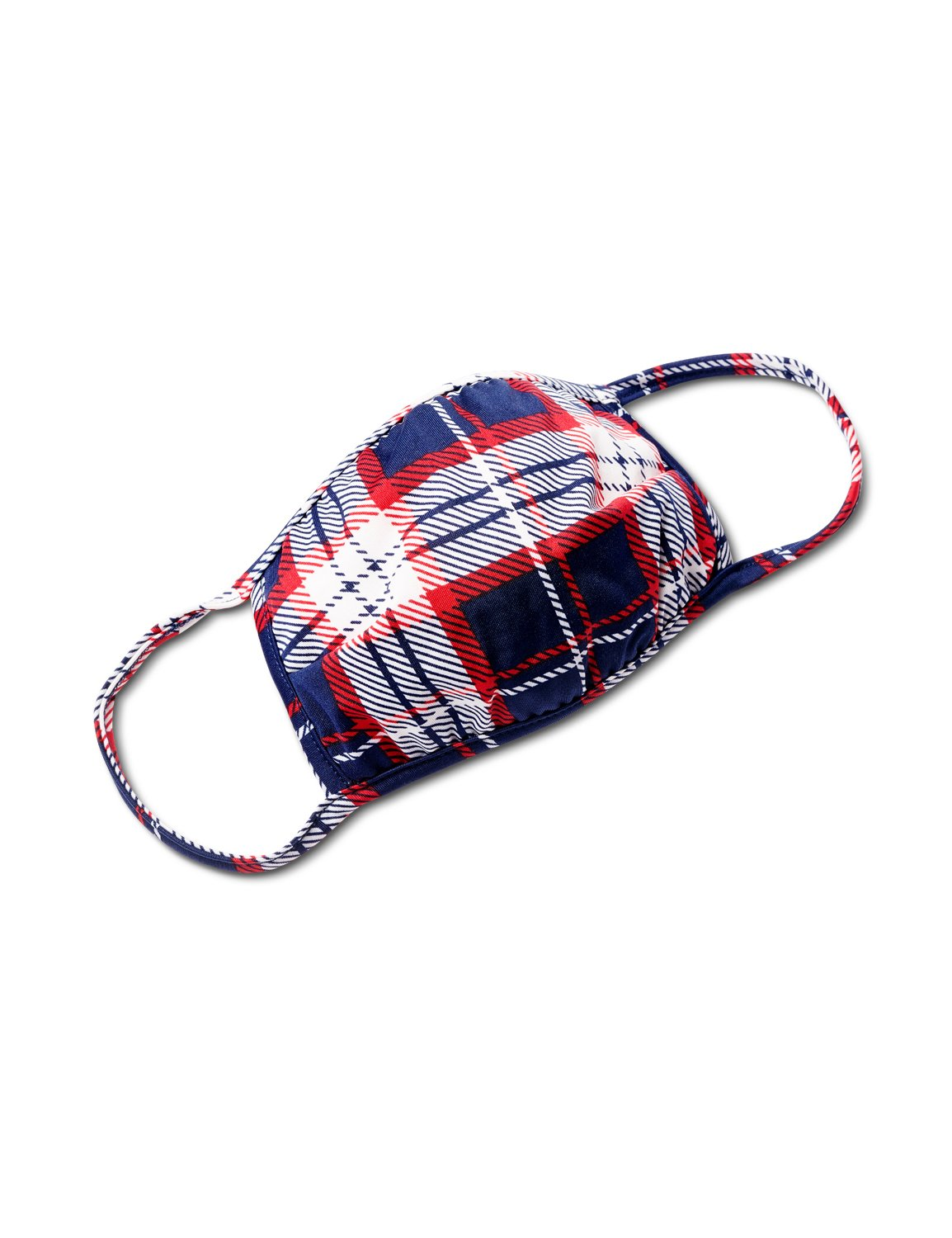 Plaid Fashion Mask -Navy/Red - Front