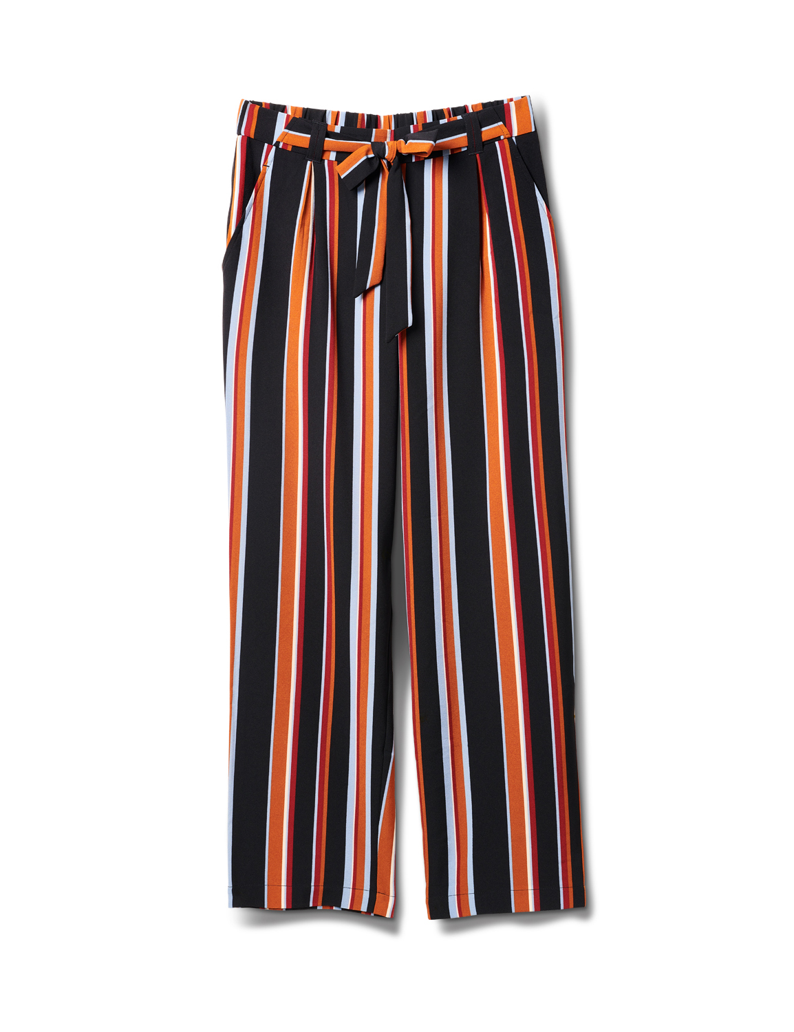 Striped Elastic Waist Soft Pant with Tie Belt -Multi - Front