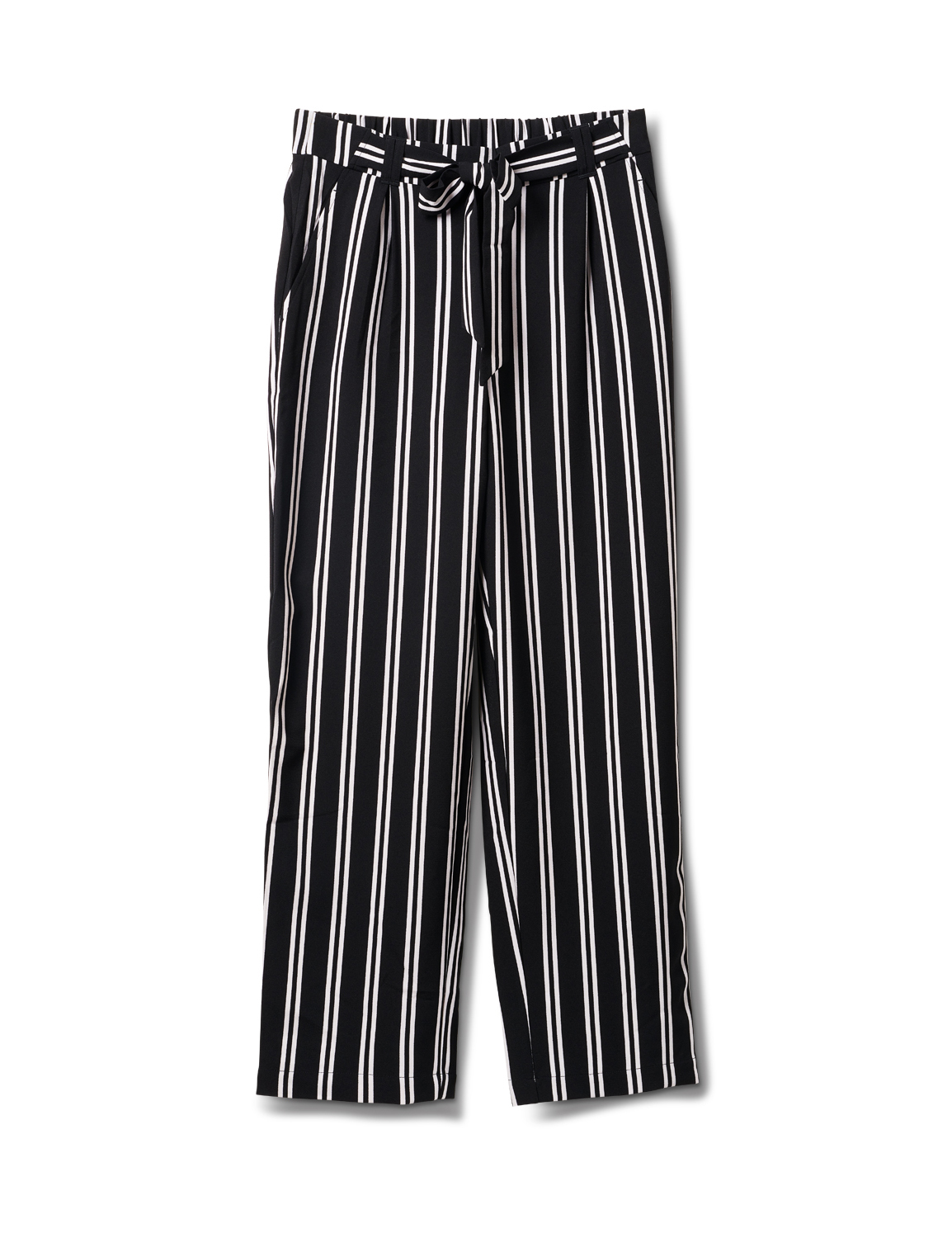 Striped Soft Pant with Elastic Waist, Soft Tie Belt -Black/white - Front