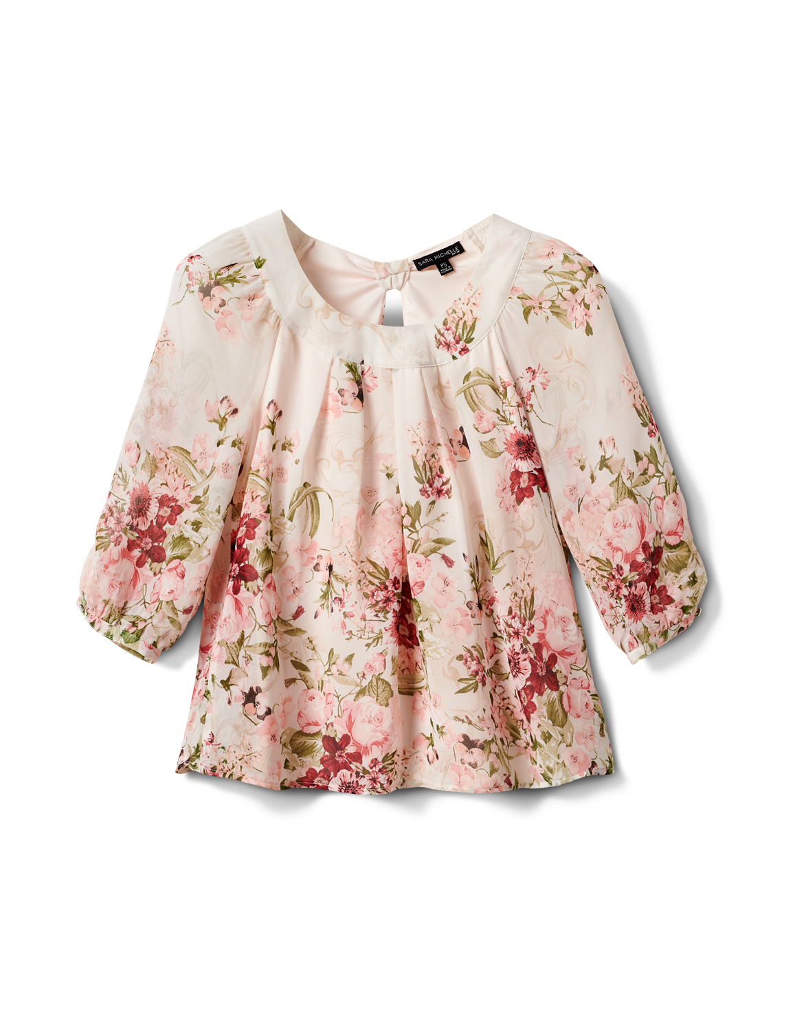 Petite Floral Border Pleated Blouse -Tan/Mauve - Front