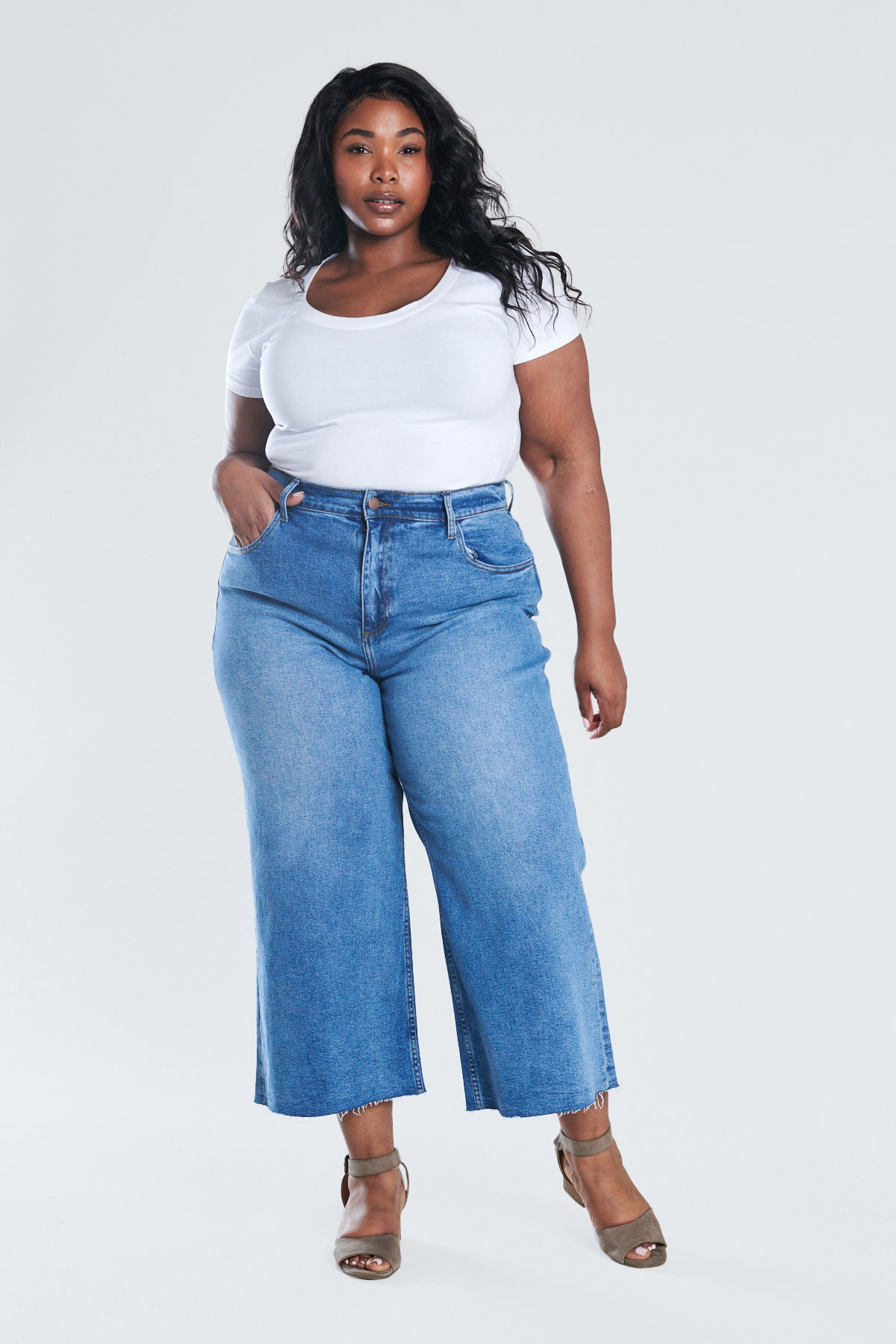 Denim Wide Leg Crop Pants -Medium stone - Front