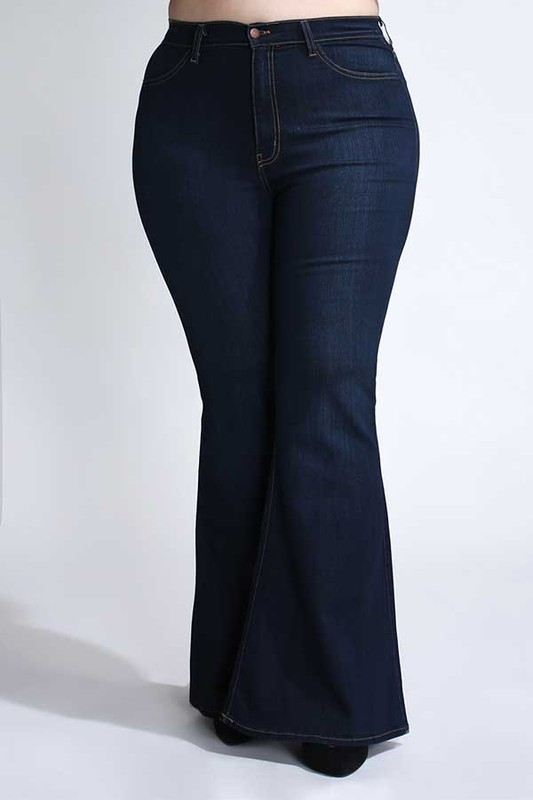 Pre-Order Dark Denim Wide-Leg Pants -Dark stone - Front