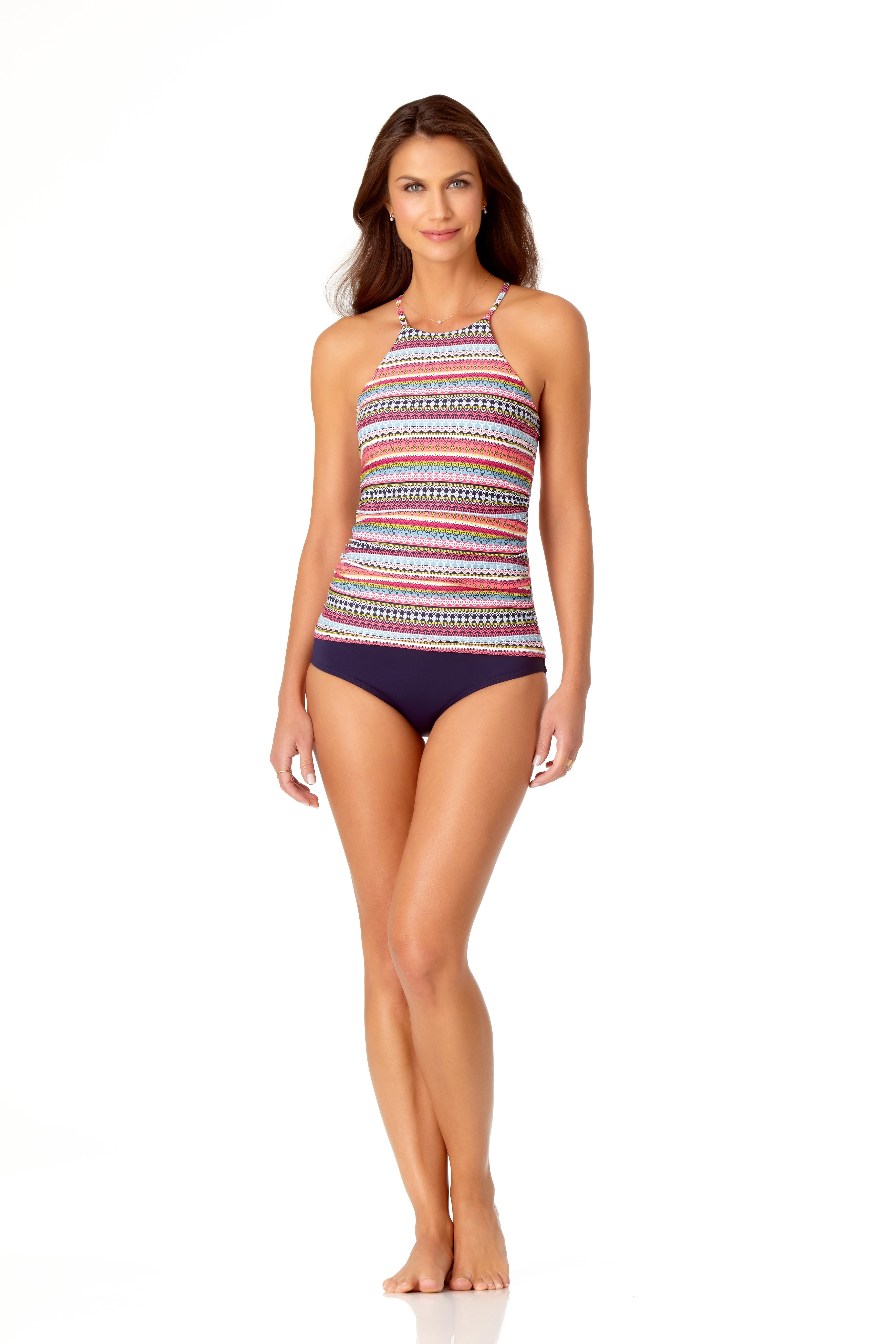 Anne Cole® Jet Set Stripe High Neck Tankini Swimsuit Top -Multi - Front