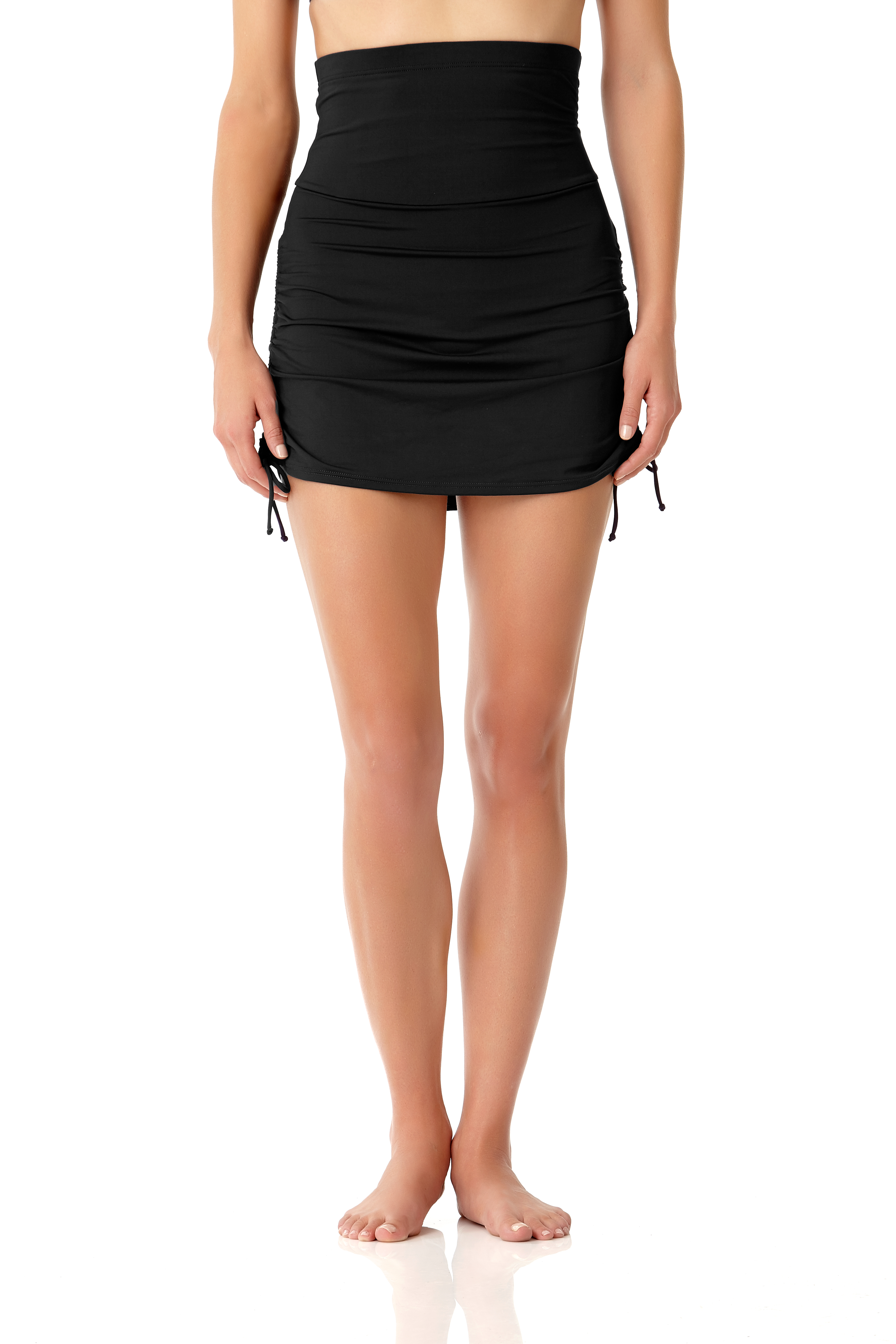 Anne Cole® Live in Color Tummy Control Swimsuit Skirt Bottom -Black - Front