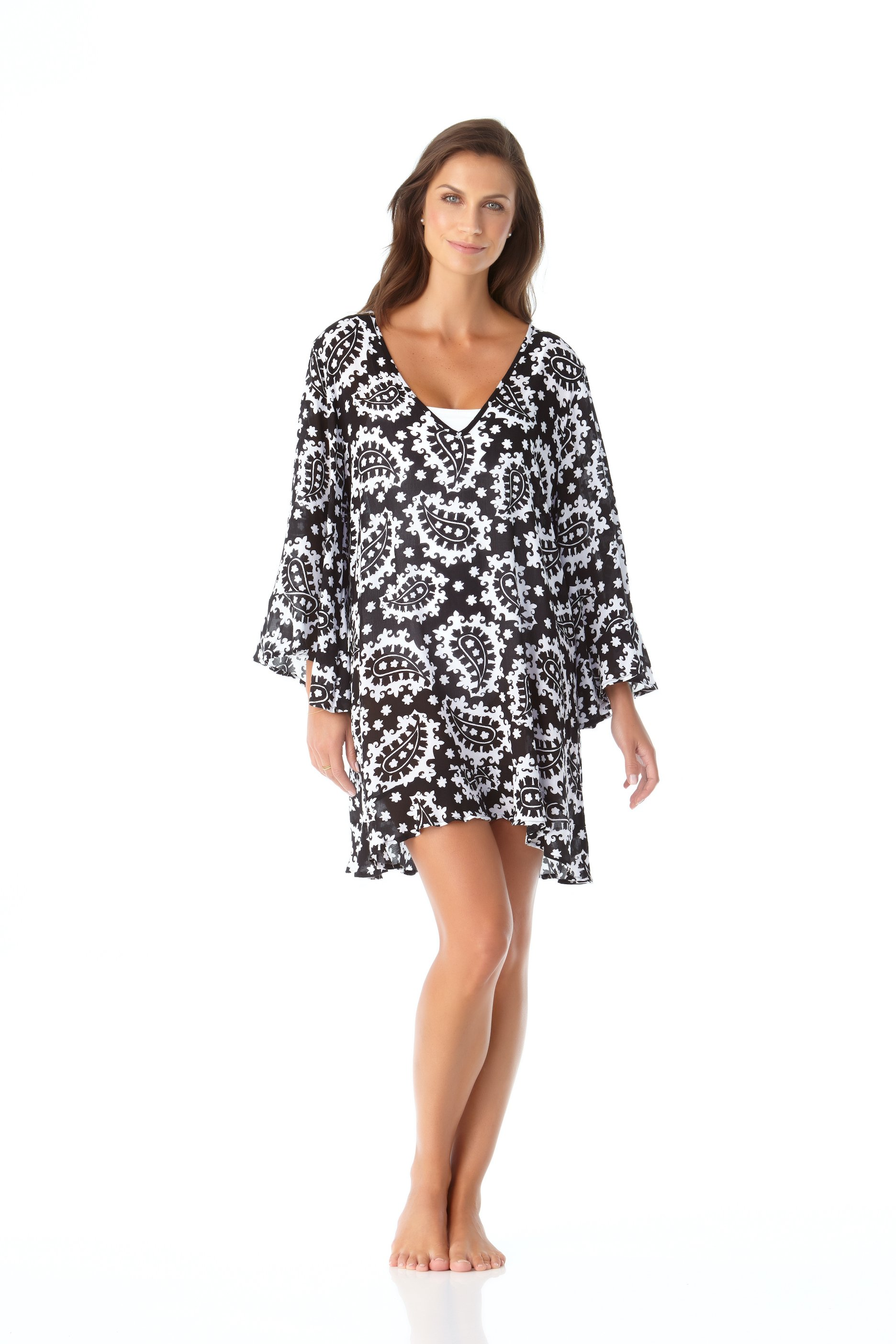 PRE ORDER Anne Cole® Riveria Paisley Flounce Sleeve Tunic Swimsuit Cover-Up -Black/White - Front