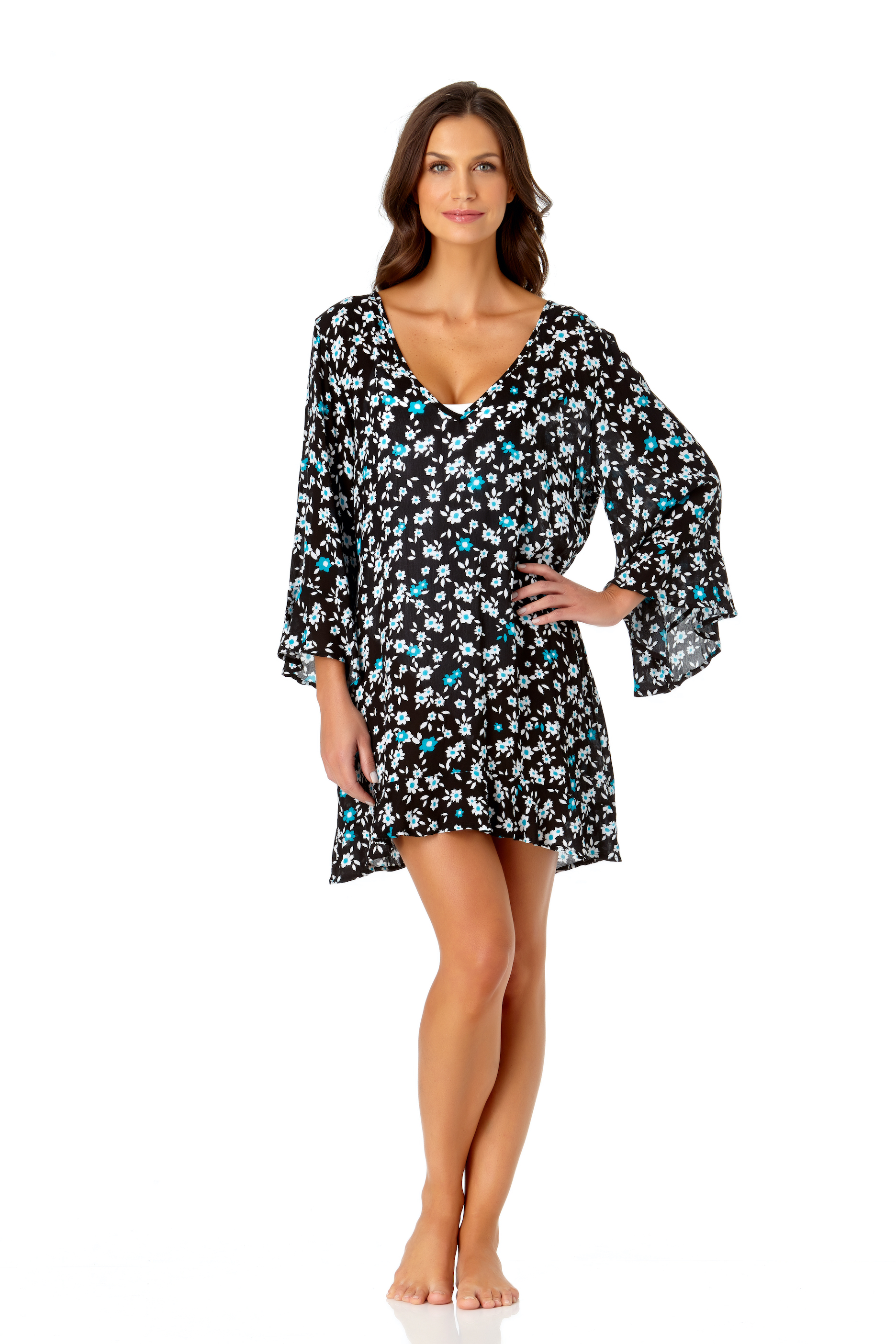 PRE ORDER Anne Cole® Beautiful Bunches Tunic Swimsuit Cover-Up -Multi - Front