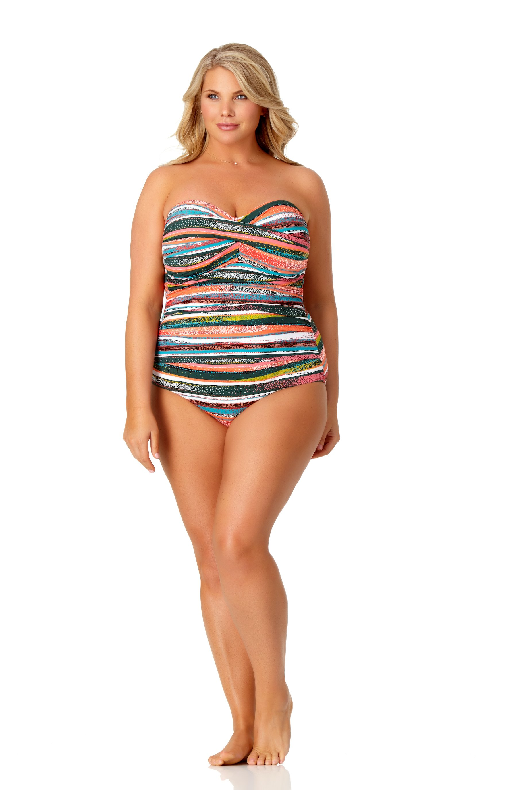 PRE ORDER Anne Cole® Sand Stripe Bandeau One Piece Swimsuit -Multi - Front