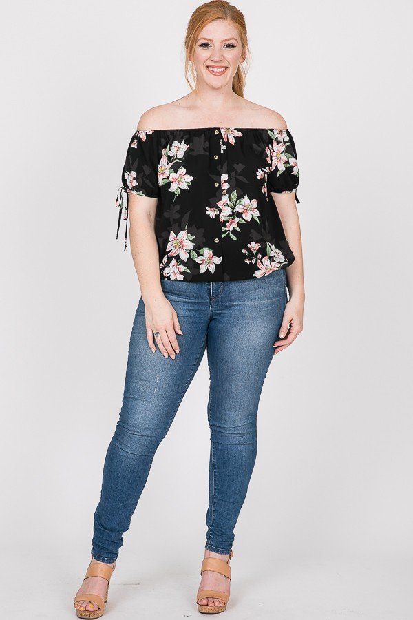 Delicate Floral Top -Black - Front